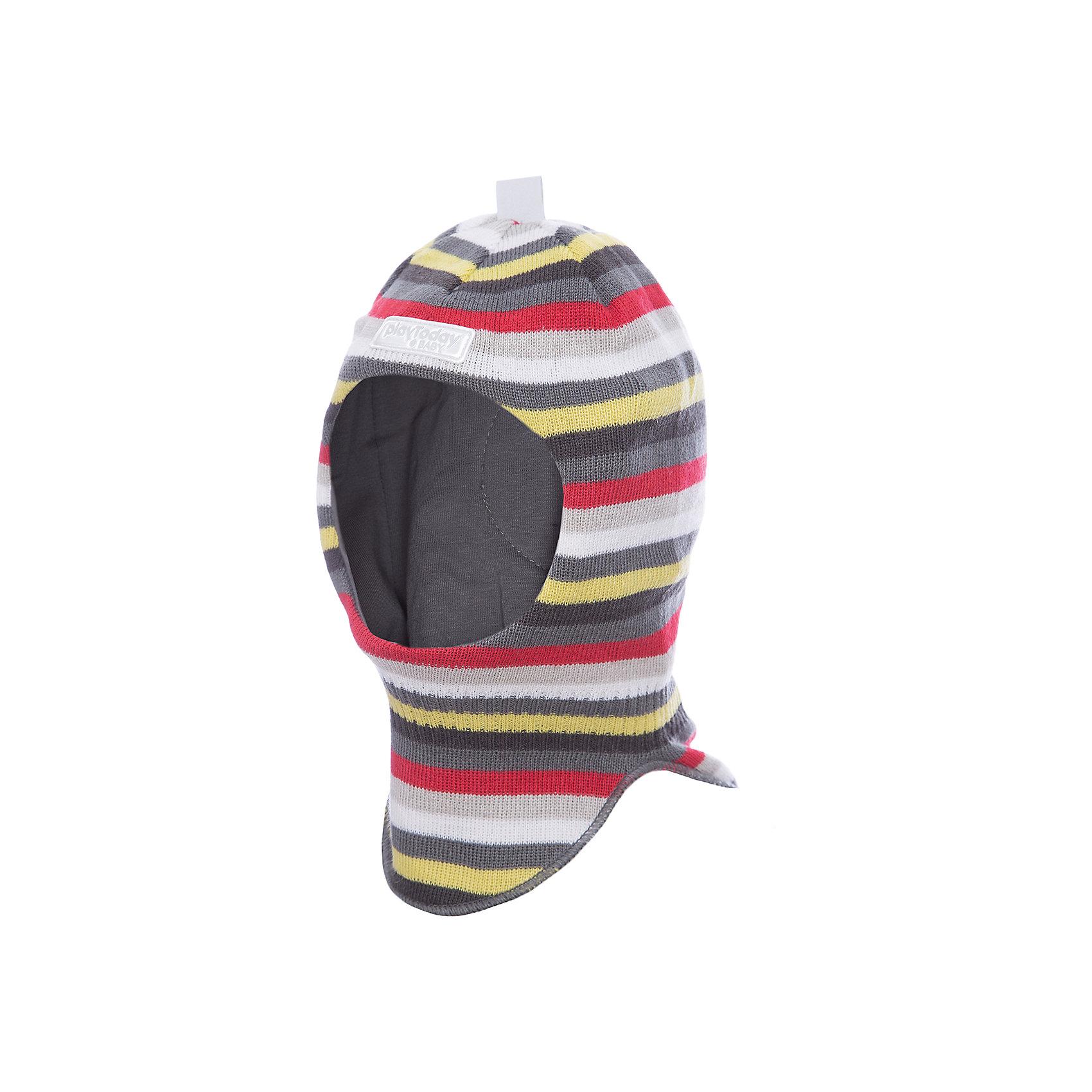 Шапка-шлем PlayToday для мальчикаДемисезонные<br>Шапка-шлем PlayToday для мальчика<br>Шапка - шлем - отличное решение для зимнего гардероба ребенка. Модель на подкладке из мягкого трикотажа. Специальные вставки защитят уши ребенка при сильном ветре. Шапка плотно прилегает к голове и комфортна при носке. Дополнена светоотражающими элементами. Ребенок будет виден в темное время суток.<br>Состав:<br>Верх: 100% акрил,  подкладка: 100% хлопок<br><br>Ширина мм: 89<br>Глубина мм: 117<br>Высота мм: 44<br>Вес г: 155<br>Цвет: белый<br>Возраст от месяцев: 12<br>Возраст до месяцев: 18<br>Пол: Мужской<br>Возраст: Детский<br>Размер: 48,46<br>SKU: 7109984