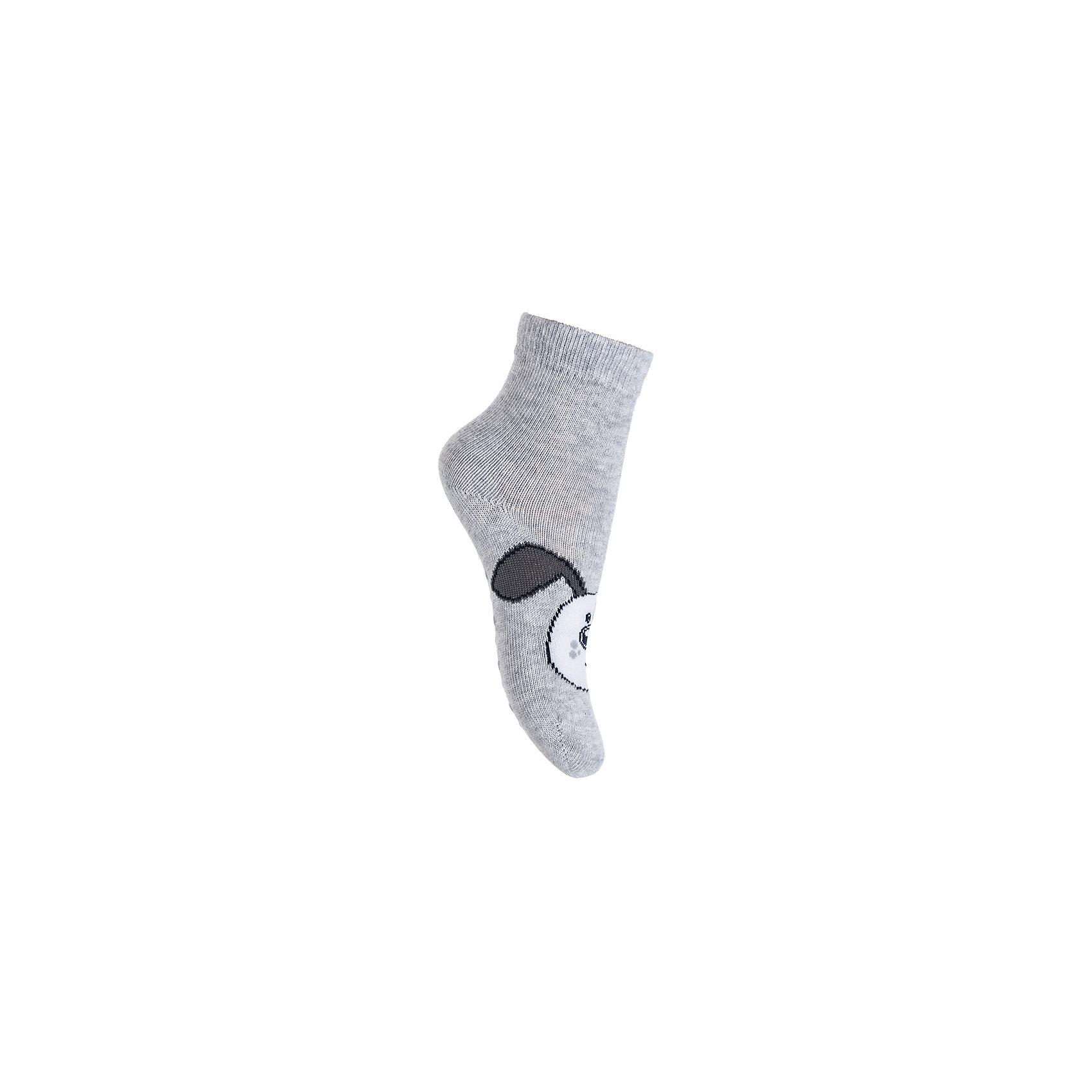Носки PlayToday для мальчикаНоски<br>Носки PlayToday для мальчика<br>Носки очень мягкие, из  натуральных материалов, приятные к телу и не сковывают движений. Хорошо пропускают воздух, тем самым позволяя коже дышать. Даже частые стирки, при условии соблюдений рекомендаций по уходу, не изменят ни форму, ни цвет изделия. Модель декорирована оригинальным жаккардовым рисунком. Мягкая резинка не сдавливает нежную детскую кожу. Подошва дополнена силиконовыми наклейками, которые не позволят ребенку упасть даже на скользкой поверхности.<br>Состав:<br>75% хлопок, 22% нейлон, 3% эластан<br><br>Ширина мм: 87<br>Глубина мм: 10<br>Высота мм: 105<br>Вес г: 115<br>Цвет: серый<br>Возраст от месяцев: 12<br>Возраст до месяцев: 18<br>Пол: Мужской<br>Возраст: Детский<br>Размер: 11,12<br>SKU: 7110001