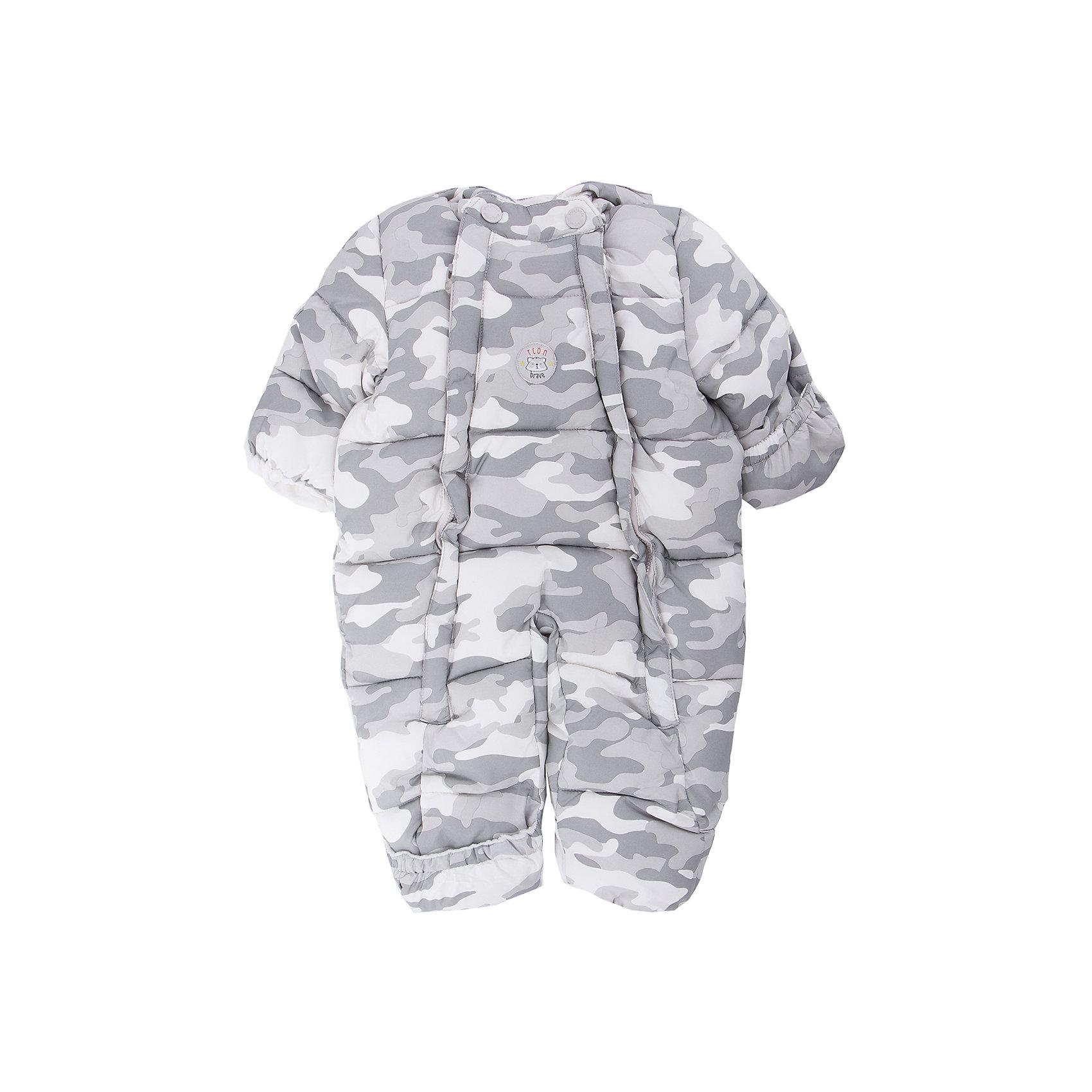 Комбинезон PlayToday для мальчикаВерхняя одежда<br>Комбинезон PlayToday для мальчика<br>Теплый комбинезон из ткани с водоотталкивающей пропиткой - отличное решение для прогулок в холодную погоду. Модель выполена в стиле милитари. Вшивной капюшон по контуру дополнен регулируемым шнуром - кулиской. Комбинезон застегивается на две молнии. Манжеты и низ брючин дополнены специальными вставками, которые позволяют полностью закрыть руки и ноги ребенка. Подкладка с высоким содержанием хлопка отлично впитывает лишнюю влагу и сохраняет тепло.<br>Состав:<br>Верх: 100% полиэстер, подкладка: 80% хлопок, 20% полиэстер, Утеплитель 100% полиэстер, 300 г/м2<br><br>Ширина мм: 157<br>Глубина мм: 13<br>Высота мм: 119<br>Вес г: 200<br>Цвет: белый<br>Возраст от месяцев: 0<br>Возраст до месяцев: 3<br>Пол: Мужской<br>Возраст: Детский<br>Размер: 56,68<br>SKU: 7110016
