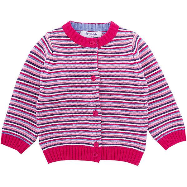 Кардиган PlayToday для девочкиТолстовки, свитера, кардиганы<br>Характеристики товара:<br><br>• цвет: розовый<br>• состав ткани: 60% хлопок, 40% акрил<br>• сезон: демисезон<br>• застежка: пуговицы<br>• длинные рукава<br>• страна бренда: Германия<br>• страна изготовитель: Китай<br><br>Кардиган для девочки - удобная и модная вещь. Детский кардиган не линяет и надолго остается в первоначальном виде. Теплый кардиган для детей сделан из мягкого дышащего материала. Одежда и аксессуары для детей от PlayToday - это качественные и красивые вещи. <br><br>Кардиган PlayToday (ПлэйТудэй) для девочки можно купить в нашем интернет-магазине.<br>Ширина мм: 190; Глубина мм: 74; Высота мм: 229; Вес г: 236; Цвет: белый; Возраст от месяцев: 6; Возраст до месяцев: 9; Пол: Женский; Возраст: Детский; Размер: 74,92,86,80; SKU: 7110126;