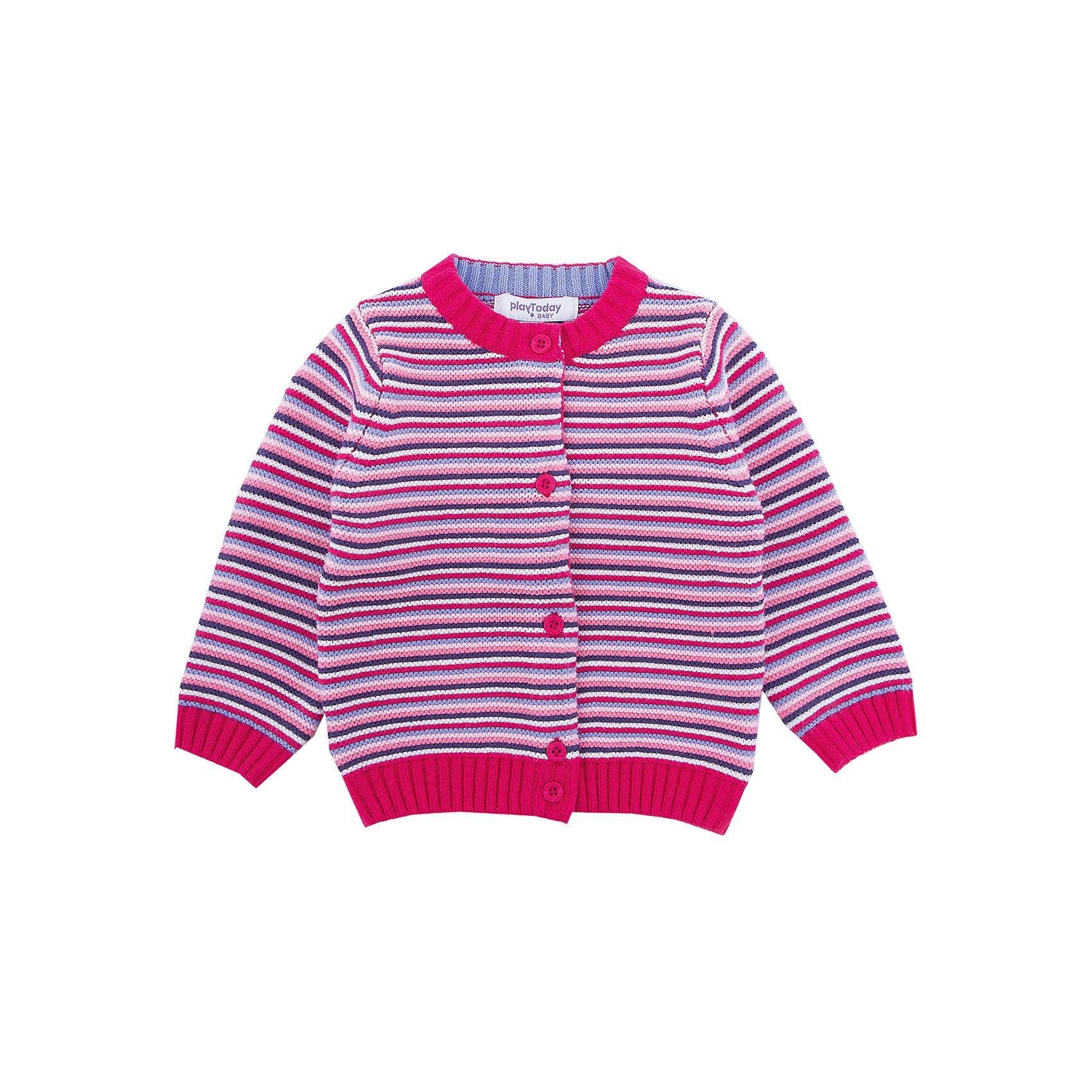 Кардиган PlayToday для девочкиТолстовки, свитера, кардиганы<br>Кардиган PlayToday для девочки<br>Кардиган на пуговицах - отличное дополнение к повседневному гардеробу ребенка. Горловина, манжеты и низ изделия на мягких резинках. Модель выполнена в технике yarn dyed - в процессе производства используются разного цвета нити. При рекомендуемом уходе изделие не линяет и надолго остается в первоначальном виде.<br>Состав:<br>60% хлопок, 40% акрил<br><br>Ширина мм: 190<br>Глубина мм: 74<br>Высота мм: 229<br>Вес г: 236<br>Цвет: белый<br>Возраст от месяцев: 18<br>Возраст до месяцев: 24<br>Пол: Женский<br>Возраст: Детский<br>Размер: 92,74,80,86<br>SKU: 7110126