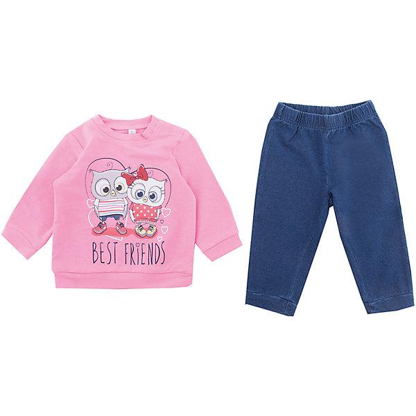 Комплект: футболка с длинным рукавом и брюки PlayToday для девочкиКомплекты<br>Характеристики товара:<br><br>• цвет: розовый<br>• комплектация: лонгслив и леггинсы<br>• состав ткани: 95% хлопок, 5% эластан<br>• сезон: круглый год<br>• застежка: кнопки<br>• длинные рукава<br>• пояс: резинка<br>• страна бренда: Германия<br>• страна изготовитель: Китай<br><br>Одежда и аксессуары для детей от PlayToday - это качественные и красивые вещи. Детский комплект состоит из лонгслива и леггинсов. Комплект для девочки снабжен удобными кнопками. Комплект для детей сделан из легкого качественного хлопка. <br><br>Комплект: лонгслив и леггинсы PlayToday (ПлэйТудэй) для девочки можно купить в нашем интернет-магазине.<br>Ширина мм: 230; Глубина мм: 40; Высота мм: 220; Вес г: 250; Цвет: белый; Возраст от месяцев: 18; Возраст до месяцев: 24; Пол: Женский; Возраст: Детский; Размер: 74,80,86,92; SKU: 7110221;