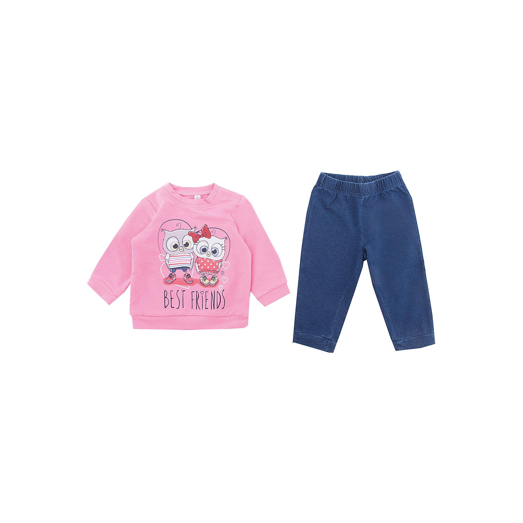 Комплект: футболка с длинным рукавом и брюки PlayToday для девочкиКомплекты<br>Комплект: футболка с длинным рукавом и брюки PlayToday для девочки<br>Комплект из футболки с длинным рукавом и брюк - отличное решение и для повседневного гардероба, и в качестве домашней одежды. Приятная на ощупь ткань не вызывает раздражений. Модель декорирована принтом. Для удобства снимания и одевания горловина футболки дополнена удобными застежками - кнопками. Пояс и низ брюк на мягких трикотажных резинках.<br>Состав:<br>95% хлопок, 5% эластан<br><br>Ширина мм: 230<br>Глубина мм: 40<br>Высота мм: 220<br>Вес г: 250<br>Цвет: белый<br>Возраст от месяцев: 18<br>Возраст до месяцев: 24<br>Пол: Женский<br>Возраст: Детский<br>Размер: 92,74,80,86<br>SKU: 7110221
