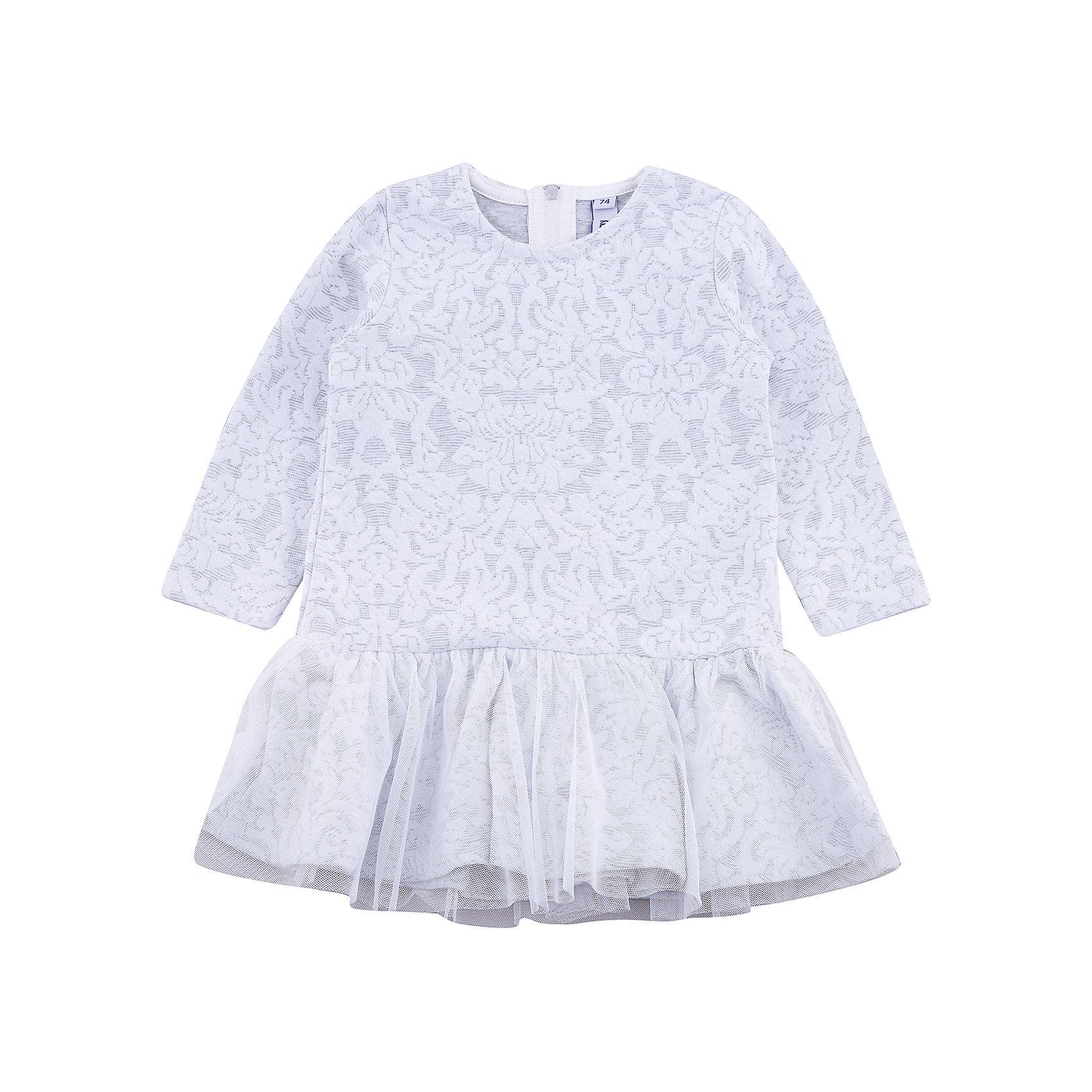 Платье PlayToday для девочкиПлатья<br>Платье PlayToday для девочки<br>Платье с округлым вырезом дополнит гардероб ребенка. Модель из мягкой ткани с эффектом объемного рисунка. На спинке расположена удобная застежка - молния. Платье с длинными рукавами и заниженной талией. Верх юбки дополнен широкой оборкой из легкой сетчатой ткани.<br>Состав:<br>65% полиэстер, 30% вискоза, 5% эластан<br><br>Ширина мм: 236<br>Глубина мм: 16<br>Высота мм: 184<br>Вес г: 177<br>Цвет: белый<br>Возраст от месяцев: 18<br>Возраст до месяцев: 24<br>Пол: Женский<br>Возраст: Детский<br>Размер: 92,74,80,86<br>SKU: 7110372