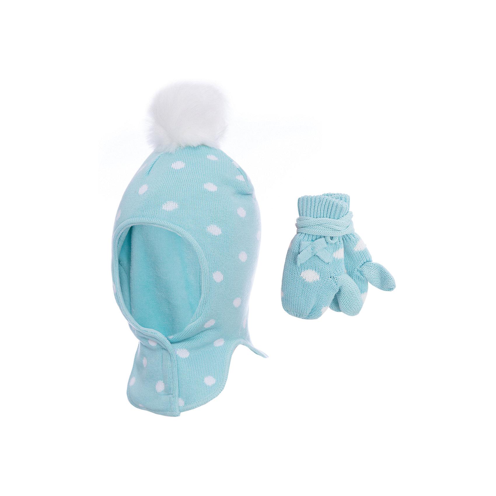 Комплект: шапка-шлем и варежки PlayToday для девочкиКомплекты<br>Комплект: шапка-шлем и варежки PlayToday для девочки<br>Двуслойная шапка - шлем. Внешняя часть из трикотажа, выполненного по технологии yarn dyed - в процессе производства используются разного цвета нити. Изделие, при рекомендуемом уходе, не линяет и надолго остается в первноначальном виде. Подкладка из мягкого велюра. Шапка под подбородком застегивается на липучку. Модель дополнена помпоном. Варежки двуслойные, между собой соединены вязаным шнуром.<br>Состав:<br>Верх: 80% хлопок, 18% нейлон, 2% эластан, подкладка: 80% хлопок, 18% нейлон, 2% эластан<br><br>Ширина мм: 89<br>Глубина мм: 117<br>Высота мм: 44<br>Вес г: 155<br>Цвет: белый<br>Возраст от месяцев: 12<br>Возраст до месяцев: 18<br>Пол: Женский<br>Возраст: Детский<br>Размер: 48,46<br>SKU: 7110400