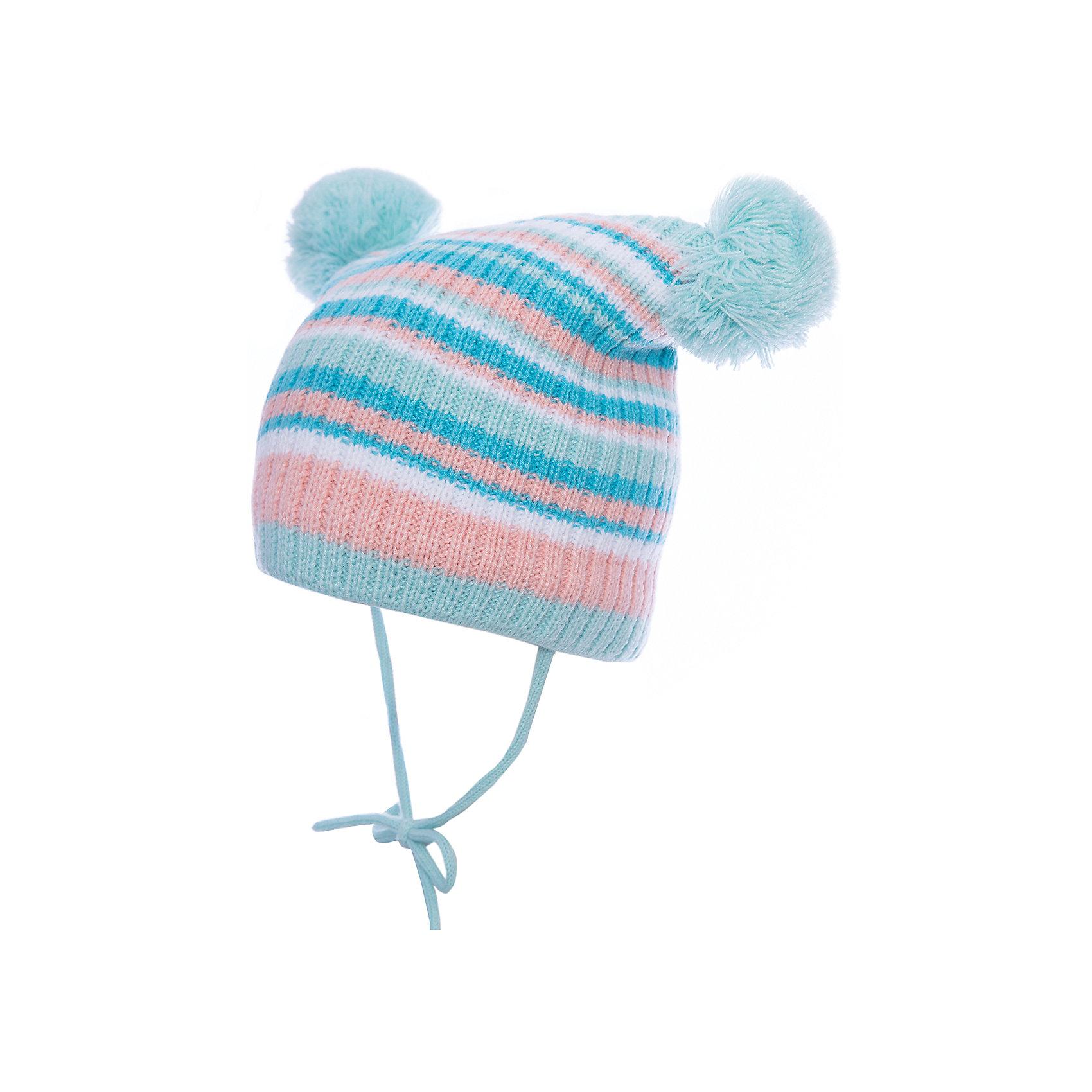 Шапка PlayToday для девочкиШапочки<br>Шапка PlayToday для девочки<br>Двуслойная вязаная шапка на завязках. Подкладка из флиса. Верхняя часть выполнена по технологии yarn dyed - в процессе производства используются разного цвета нити. Изделие, при рекомендуемом уходе, не линяет и надолго остается в первоначальном виде. Модель дополнена двумя помпонами.<br>Состав:<br>Верх: 60% хлопок, 40% акрил, подкладка:100% полиэстер<br><br>Ширина мм: 89<br>Глубина мм: 117<br>Высота мм: 44<br>Вес г: 155<br>Цвет: белый<br>Возраст от месяцев: 12<br>Возраст до месяцев: 18<br>Пол: Женский<br>Возраст: Детский<br>Размер: 48,46<br>SKU: 7110403
