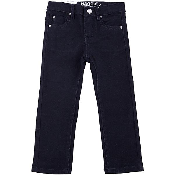 Джинсы PlayToday для мальчикаДжинсы<br>Джинсы PlayToday для мальчика<br>Брюки джинсы из натуральной хлопковой ткани. Классическая 5-ти карманная модель . Брюки со шлевками, при необходимости можно использовать ремень.<br>Состав:<br>97% хлопок, 3% эластан<br><br>Ширина мм: 215<br>Глубина мм: 88<br>Высота мм: 191<br>Вес г: 336<br>Цвет: черный<br>Возраст от месяцев: 24<br>Возраст до месяцев: 36<br>Пол: Мужской<br>Возраст: Детский<br>Размер: 98,128,122,116,110,104<br>SKU: 7110695