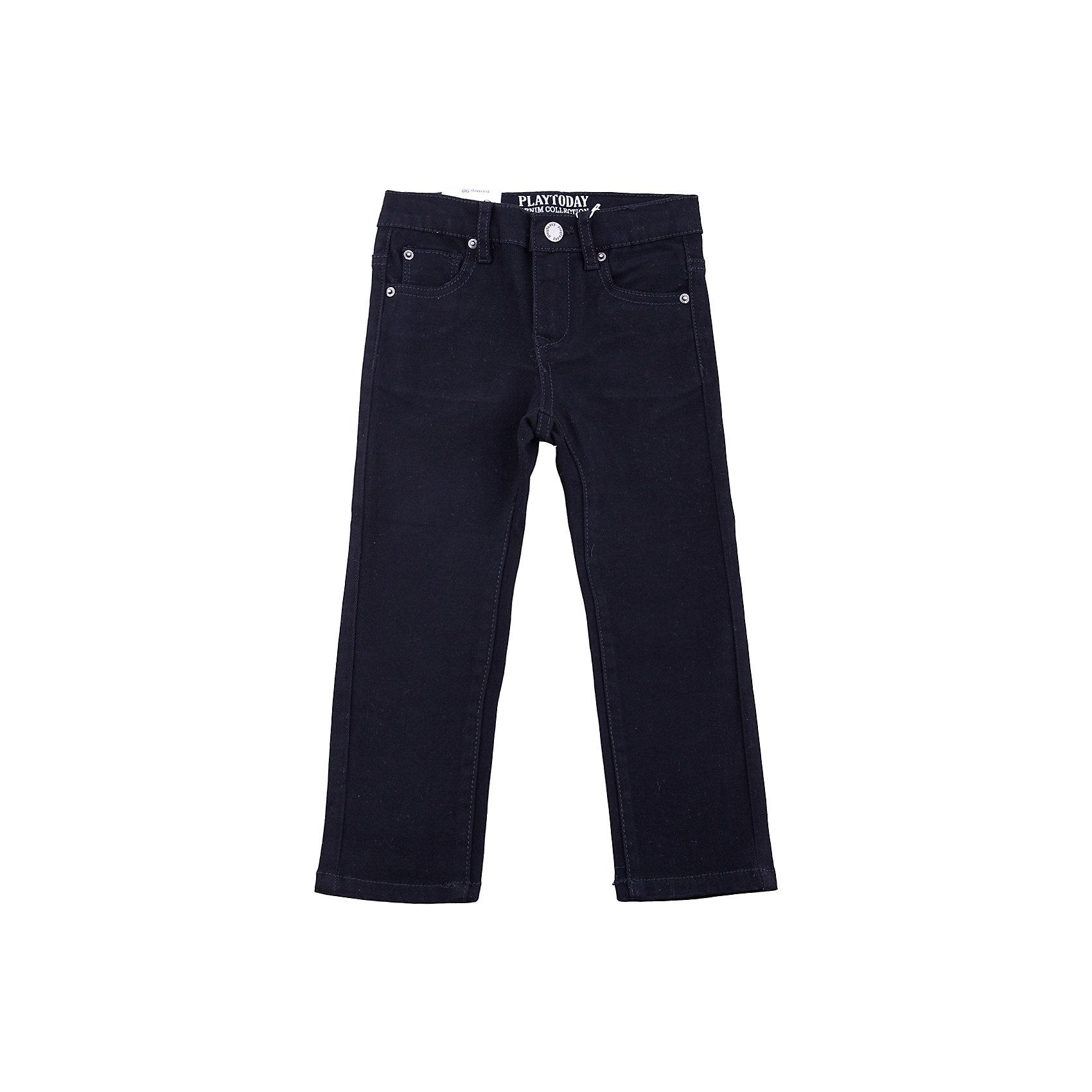 Джинсы PlayToday для мальчикаДжинсы<br>Джинсы PlayToday для мальчика<br>Брюки джинсы из натуральной хлопковой ткани. Классическая 5-ти карманная модель . Брюки со шлевками, при необходимости можно использовать ремень.<br>Состав:<br>97% хлопок, 3% эластан<br><br>Ширина мм: 215<br>Глубина мм: 88<br>Высота мм: 191<br>Вес г: 336<br>Цвет: черный<br>Возраст от месяцев: 84<br>Возраст до месяцев: 96<br>Пол: Мужской<br>Возраст: Детский<br>Размер: 128,98,104,110,116,122<br>SKU: 7110695