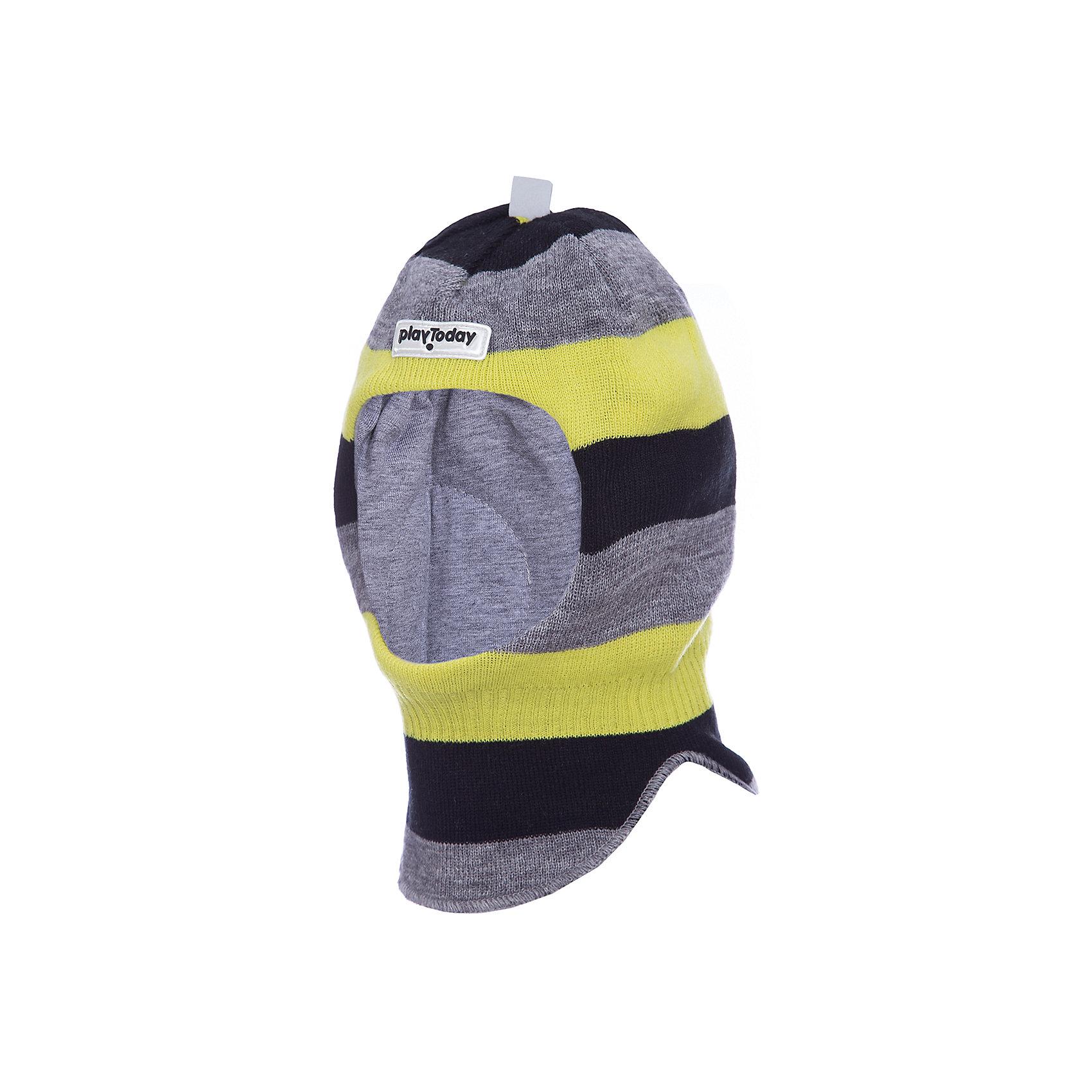 Шапка-шлем PlayToday для мальчикаГоловные уборы<br>Шапка-шлем PlayToday для мальчика<br>Шапка - шлем. Модель на подкладке из мягкого трикотажа. Специальные вставки защитят уши ребенка при сильном ветре. Шапка плотно прилегает к голове и комфортна при носке. Дополнена светоотражающими элементами. Ребенок будет виден в темное время суток.<br>Состав:<br>Верх: 70% акрил, 30% шерсть, подкладка: 60% хлопок, 40% акрил<br><br>Ширина мм: 89<br>Глубина мм: 117<br>Высота мм: 44<br>Вес г: 155<br>Цвет: белый<br>Возраст от месяцев: 72<br>Возраст до месяцев: 84<br>Пол: Мужской<br>Возраст: Детский<br>Размер: 54,50,52<br>SKU: 7110706