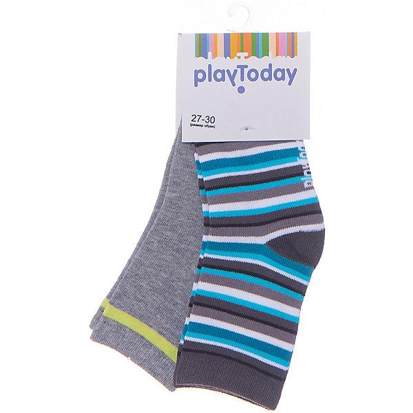 Носки PlayToday для мальчикаНоски<br>Носки PlayToday для мальчика<br>Носки очень мягкие, из  натуральных материалов, приятные к телу и не сковывают движений. Хорошо пропускают воздух, тем самым позволяя коже дышать. Одна из моделей выполнена в технике - yarn dyed - в процессе производства в полотне используются разного цвета нити. Даже частые стирки, при условии соблюдений рекомендаций по уходу, не изменят ни форму, ни цвет изделия.  Мягкая резинка не сдавливает нежную детскую кожу.<br>Состав:<br>75% хлопок, 22% нейлон, 3% эластан<br><br>Ширина мм: 87<br>Глубина мм: 10<br>Высота мм: 105<br>Вес г: 115<br>Цвет: серый<br>Возраст от месяцев: 36<br>Возраст до месяцев: 48<br>Пол: Мужской<br>Возраст: Детский<br>Размер: 14,18,16<br>SKU: 7110738