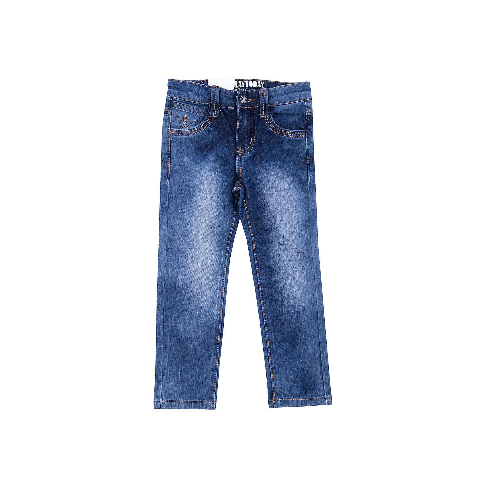 Джинсы PlayToday для мальчикаДжинсы<br>Джинсы PlayToday для мальчика<br>Брюки - джинсы из натурального хлопка. Классическая модель со шлевками, при необходимости можно использовать ремень. В качестве декора использованы потертости.<br>Состав:<br>98% хлопок, 2% эластан<br><br>Ширина мм: 215<br>Глубина мм: 88<br>Высота мм: 191<br>Вес г: 336<br>Цвет: синий<br>Возраст от месяцев: 24<br>Возраст до месяцев: 36<br>Пол: Мужской<br>Возраст: Детский<br>Размер: 98,128,122,116,110,104<br>SKU: 7110781