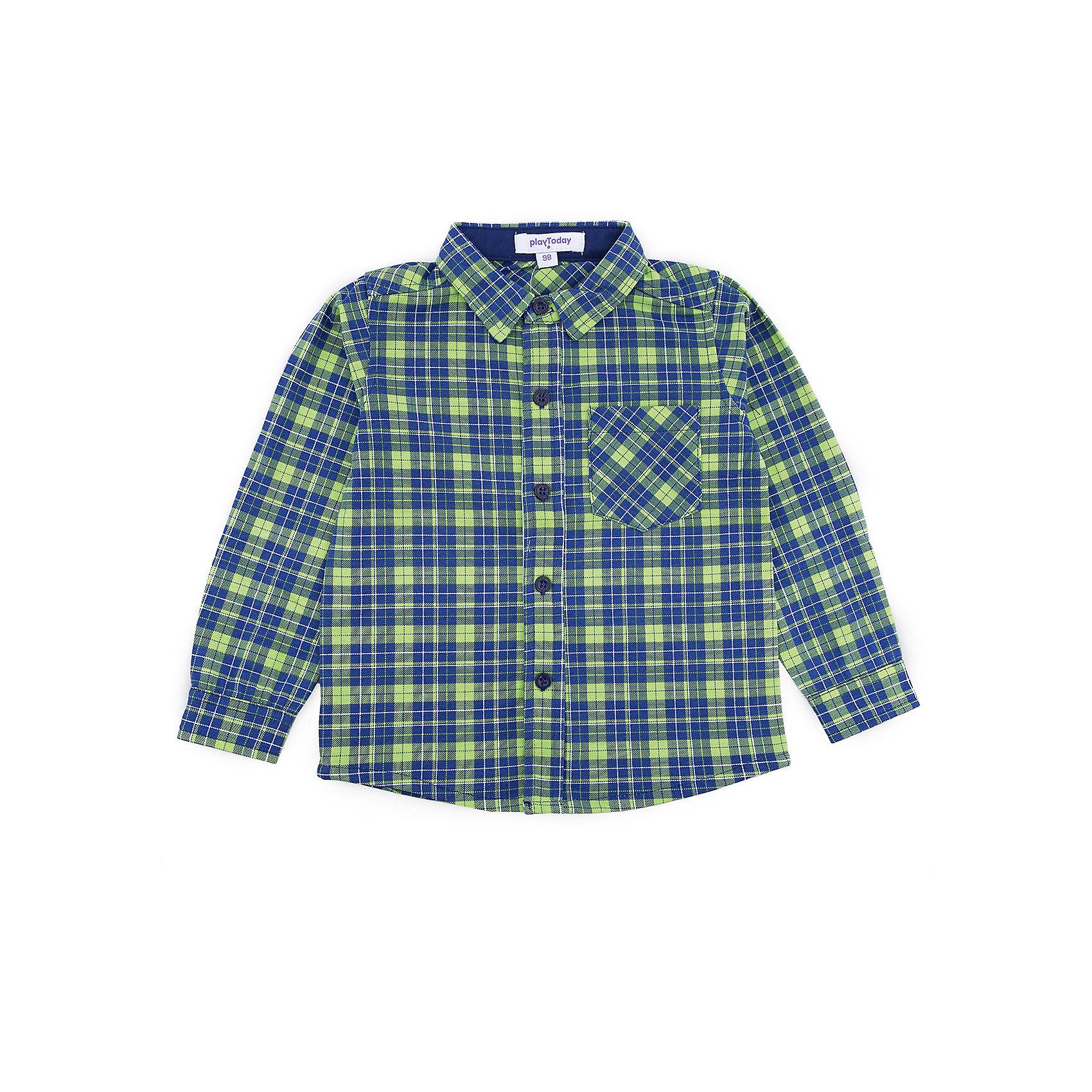 Рубашка PlayToday для мальчикаБлузки и рубашки<br>Рубашка PlayToday для мальчика<br>Практичная сорочка с длинным рукавом - отличное решение для повседневного гардероба ребенка. Ткань  мягкая и приятная на ощупь, не раздражает нежную детскую кожу. Стиль отвечает всем последним тенденциям детской моды.  Рубашка с отложным воротником. Даже в самой активной игре ребенок будет всегда иметь аккуратный вид. Модель дополнена вставками на рукавах.<br>Состав:<br>65% хлопок, 35% полиэстер<br><br>Ширина мм: 174<br>Глубина мм: 10<br>Высота мм: 169<br>Вес г: 157<br>Цвет: белый<br>Возраст от месяцев: 84<br>Возраст до месяцев: 96<br>Пол: Мужской<br>Возраст: Детский<br>Размер: 128,98,104,110,116,122<br>SKU: 7110844