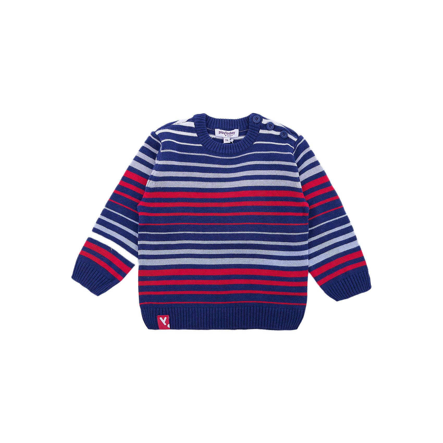 Джемпер PlayToday для мальчикаСвитера и кардиганы<br>Джемпер PlayToday для мальчика<br>Джемпер прекрасно подойдет для прохладной погоды. Натуральный материал приятен к телу и не сковывает движений ребенка. Метод вязки изделия - yarn dyed - в процессе производства в полотне используются разного цвета нити. Тем самым джемпер, при рекомендуемом уходе, не линяет и надолго остается в прежнем виде. Для удобства одевания и снимания у горловины модель снабжена пуговицами. Мягкие резинки на манжетах и по низу изделия позволяют ему держать форму.Преимущества: Метод производства - YARN DYEDНатуральный материал приятен к телуМягкие резинке на рукавах и по низу изделия<br>Состав:<br>60% хлопок, 40% акрил<br><br>Ширина мм: 190<br>Глубина мм: 74<br>Высота мм: 229<br>Вес г: 236<br>Цвет: белый<br>Возраст от месяцев: 18<br>Возраст до месяцев: 24<br>Пол: Мужской<br>Возраст: Детский<br>Размер: 92,74,80,86<br>SKU: 7111172