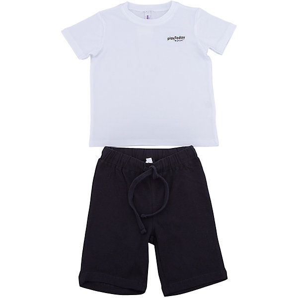 Комплект: футболка и шорты PlayToday для мальчикаКомплекты<br>Характеристики товара:<br><br>• цвет: белый, черный<br>• комплектация: футболка и шорты<br>• состав ткани: 95% хлопок, 5% эластан<br>• сезон: лето<br>• особенность модели: спортивный стиль<br>• короткие рукава<br>• пояс: резинка, шнурок<br>• страна бренда: Германия<br>• страна изготовитель: Китай<br><br>Трикотажный детский комплект состоит из футболки и шорт. Комплект для мальчика подойдет для занятий спортом. Комплект для детей сделан из легких качественных материалов. Детская одежда и обувь от европейского бренда PlayToday - выбор многих родителей. <br><br>Комплект: футболка и шорты PlayToday (ПлэйТудэй) для мальчика можно купить в нашем интернет-магазине.<br><br>Ширина мм: 199<br>Глубина мм: 10<br>Высота мм: 161<br>Вес г: 151<br>Цвет: белый<br>Возраст от месяцев: 24<br>Возраст до месяцев: 36<br>Пол: Мужской<br>Возраст: Детский<br>Размер: 98,140,134,128,122,116,110,104<br>SKU: 7111274