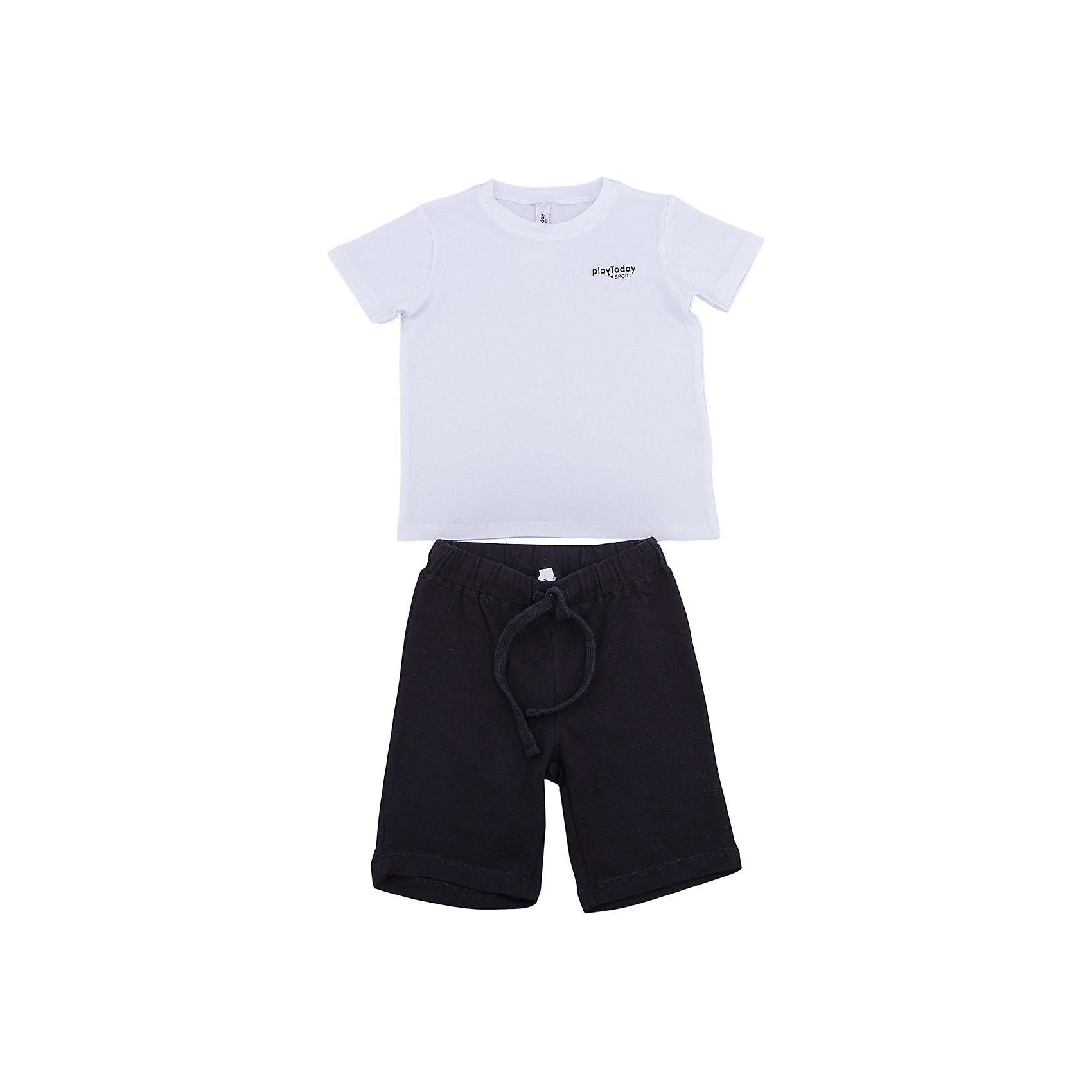 Комплект: футболка и шорты PlayToday для мальчикаКомплекты<br>Комплект: футболка и шорты PlayToday для мальчика<br>Классический комплект из белой футболки и черных шорт прекрасно подойдет для занятий спортом. Добавление в материал эластана позволяет комплекту хорошо сесть по фигуре. Пояс шорт на мягкой широкой резинке, не сдавливающей живот ребенка, дополнен регулируемым шнуром - кулиской. На футболке в качестве декора использован небольшой принт.<br>Состав:<br>95% хлопок, 5% эластан<br><br>Ширина мм: 199<br>Глубина мм: 10<br>Высота мм: 161<br>Вес г: 151<br>Цвет: белый<br>Возраст от месяцев: 108<br>Возраст до месяцев: 120<br>Пол: Мужской<br>Возраст: Детский<br>Размер: 140,98,104,110,116,122,128,134<br>SKU: 7111274