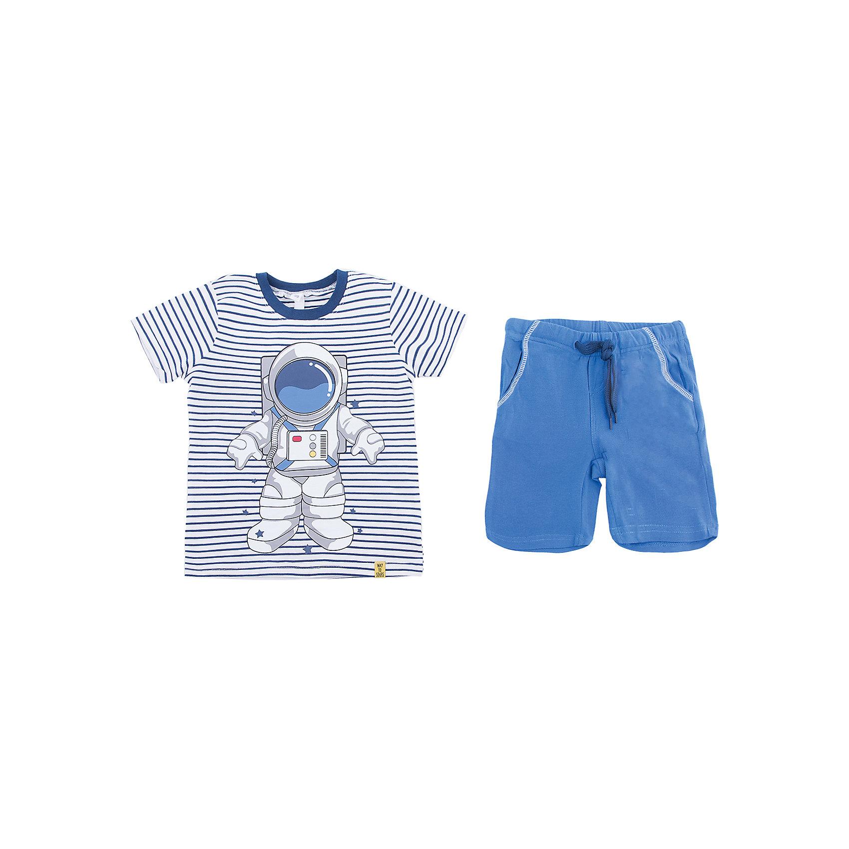 Комплект: футболка и шорты PlayToday для мальчикаКомплекты<br>Комплект: футболка и шорты PlayToday для мальчика<br>Комплект из футболки и шорт. Натуральный материал не сковывает движений. Пояс шорт на широкой мягкой резинке, дополнен регулируемым шнуром - кулиской. Футболка выполнена по технологии yarn dyed - в процессе производства используются разного цвета нити. При рекомендуемом уходе изделие не линяет и надолго остается в первоначальном виде.<br>Состав:<br>95% хлопок, 5% эластан<br><br>Ширина мм: 199<br>Глубина мм: 10<br>Высота мм: 161<br>Вес г: 151<br>Цвет: белый<br>Возраст от месяцев: 84<br>Возраст до месяцев: 96<br>Пол: Мужской<br>Возраст: Детский<br>Размер: 128,98,104,110,116,122<br>SKU: 7111518