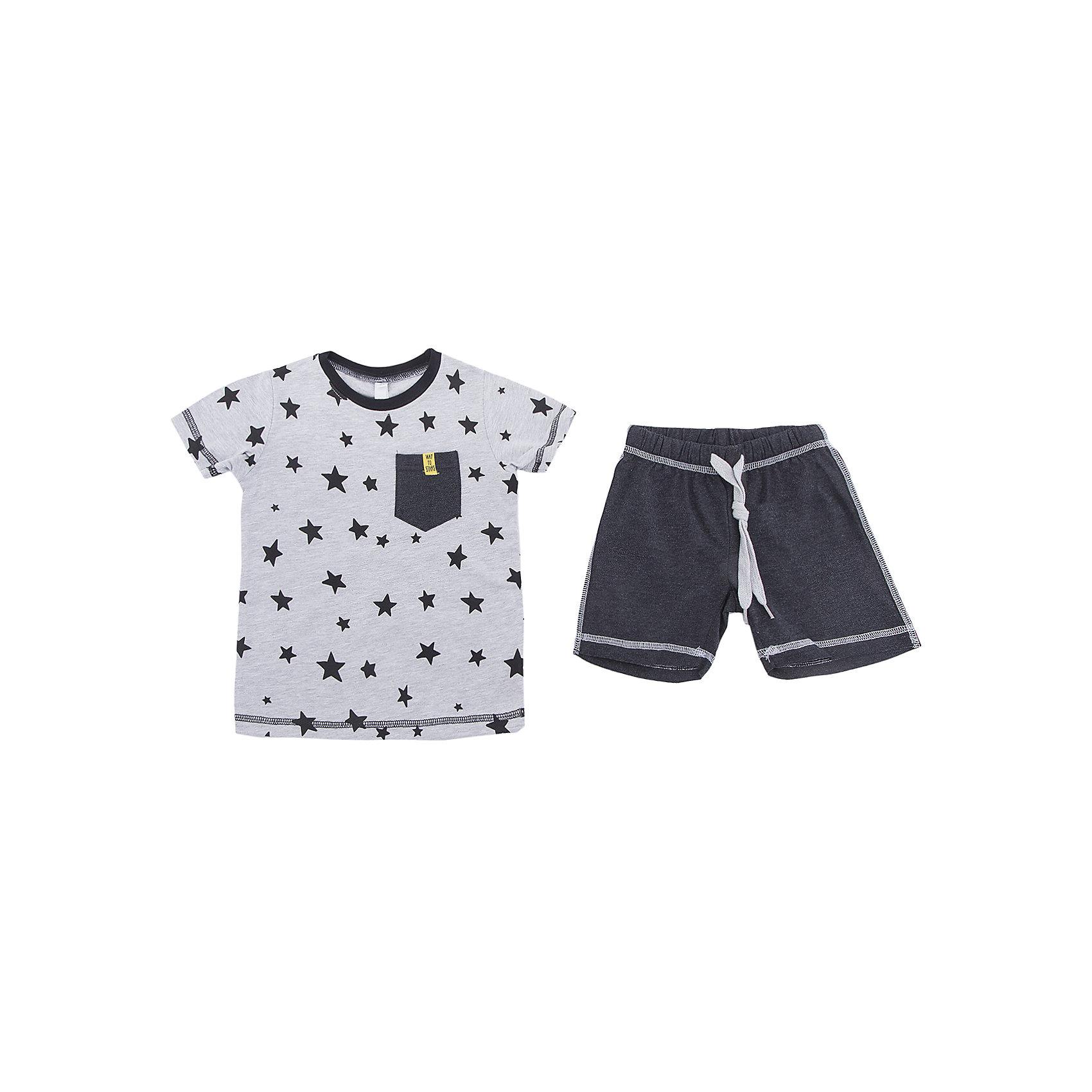 Комплект: футболка и шорты PlayToday для мальчикаКомплекты<br>Комплект: футболка и шорты PlayToday для мальчика<br>Комплект из футболки и шорт. Натуральный, приятный к телу материал не сковывает движений. Пояс шорт на широкой мягкой резинке, дополнен регулируемым шнуром - кулиской. Футболка из принтованной ткани, дополнена небольшим карманом на полочке.<br>Состав:<br>95% хлопок, 5% эластан<br><br>Ширина мм: 199<br>Глубина мм: 10<br>Высота мм: 161<br>Вес г: 151<br>Цвет: белый<br>Возраст от месяцев: 84<br>Возраст до месяцев: 96<br>Пол: Мужской<br>Возраст: Детский<br>Размер: 128,98,104,110,116,122<br>SKU: 7111525