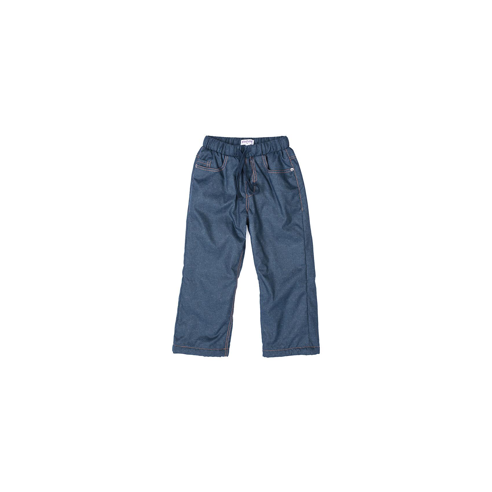 Брюки PlayToday для мальчикаБрюки<br>Брюки PlayToday для мальчика<br>Утепленные брюки из водоотталкивающей ткани. Пояс на широкой плотной резинке, дополнен регулируемым шнуром - кулиской. Подкладка модели состоит из 2-х частей. Верняя - мягкий флис, нижняя (у щиколоток) - полиэстер. За счет такого разделения подкладки брюки практичны в использовании и удобны в процессе одевания. 5-ти карманная модель.<br>Состав:<br>Верх: 100% полиэстер, подкладка: 100% полиэстер<br><br>Ширина мм: 215<br>Глубина мм: 88<br>Высота мм: 191<br>Вес г: 336<br>Цвет: синий<br>Возраст от месяцев: 84<br>Возраст до месяцев: 96<br>Пол: Мужской<br>Возраст: Детский<br>Размер: 128,98,104,110,116,122<br>SKU: 7111567