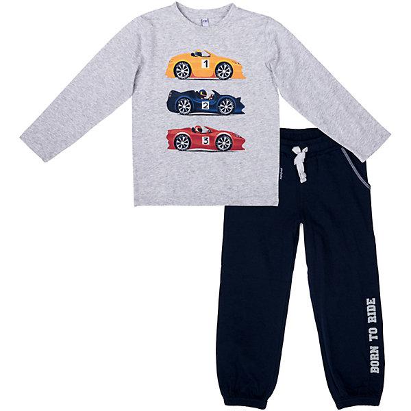 Комплект: футболка с длинным рукавом и брюки PlayToday для мальчикаКомплекты<br>Характеристики товара:<br><br>• цвет: серый<br>• комплектация: лонгслив и брюки<br>• состав ткани: 95% хлопок, 5% эластан<br>• сезон: демисезон<br>• особенность модели: спортивный стиль<br>• длинные рукава<br>• пояс: резинка, шнурок<br>• страна бренда: Германия<br>• страна изготовитель: Китай<br><br>Удобный трикотажный детский комплект состоит из лонгслива и брюк. Комплект для мальчика подойдет для занятий спортом. Комплект для детей сделан из легких качественных материалов. Детская одежда и обувь от европейского бренда PlayToday - выбор многих родителей. <br><br>Комплект: лонгслив и брюки PlayToday (ПлэйТудэй) для мальчика можно купить в нашем интернет-магазине.<br><br>Ширина мм: 230<br>Глубина мм: 40<br>Высота мм: 220<br>Вес г: 250<br>Цвет: белый<br>Возраст от месяцев: 24<br>Возраст до месяцев: 36<br>Пол: Мужской<br>Возраст: Детский<br>Размер: 98,128,122,116,110,104<br>SKU: 7111734