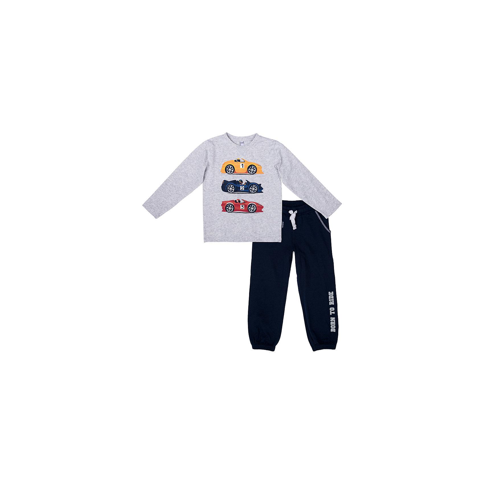 Комплект: футболка с длинным рукавом и брюки PlayToday для мальчикаКомплекты<br>Комплект: футболка с длинным рукавом и брюки PlayToday для мальчика<br>Комплект из футболки с длинным рукавом и брюк. Пояс брюк на широкой резинке, дополнен регулируемым шнуром - кулиской. Футболка декорирована ярким принтом. Низ штанин на мягких резинках. Свободный крой не сковывает движений ребенка.<br>Состав:<br>95% хлопок, 5% эластан<br><br>Ширина мм: 230<br>Глубина мм: 40<br>Высота мм: 220<br>Вес г: 250<br>Цвет: белый<br>Возраст от месяцев: 84<br>Возраст до месяцев: 96<br>Пол: Мужской<br>Возраст: Детский<br>Размер: 128,98,104,110,116,122<br>SKU: 7111734