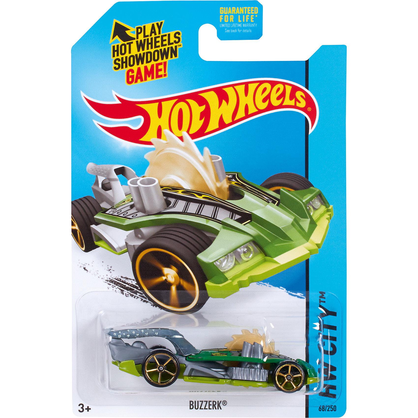 Базовая машинка Hot Wheels, BuzzerkМашинки<br><br><br>Ширина мм: 110<br>Глубина мм: 45<br>Высота мм: 110<br>Вес г: 30<br>Возраст от месяцев: 36<br>Возраст до месяцев: 96<br>Пол: Мужской<br>Возраст: Детский<br>SKU: 7111917
