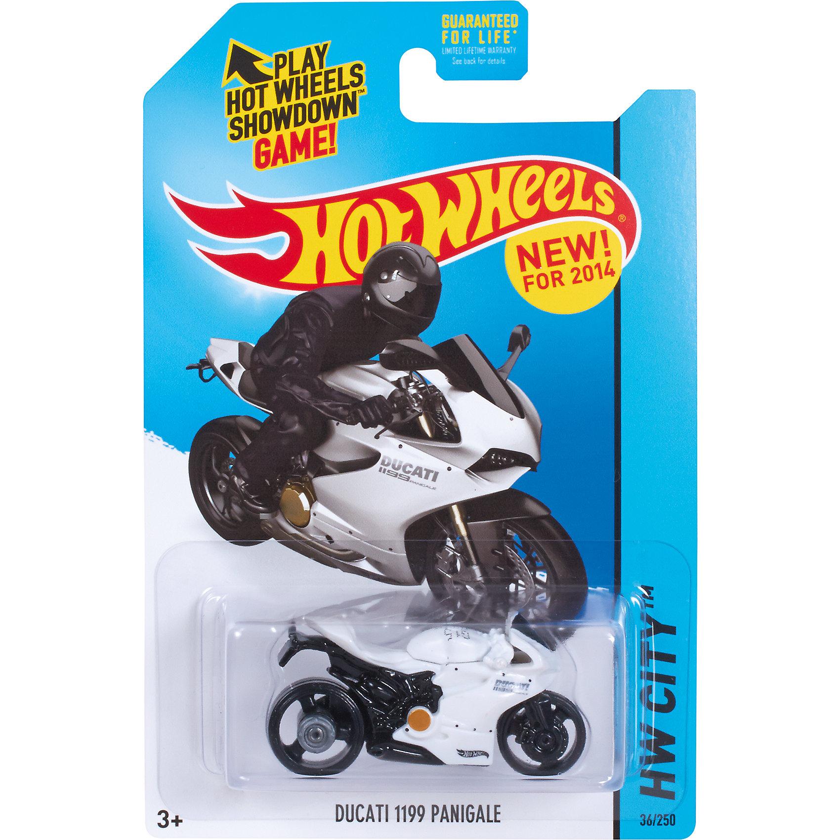 Базовая машинка Hot Wheels, Ducati 1199 PanigaleМашинки<br><br><br>Ширина мм: 110<br>Глубина мм: 45<br>Высота мм: 110<br>Вес г: 30<br>Возраст от месяцев: 36<br>Возраст до месяцев: 96<br>Пол: Мужской<br>Возраст: Детский<br>SKU: 7111920