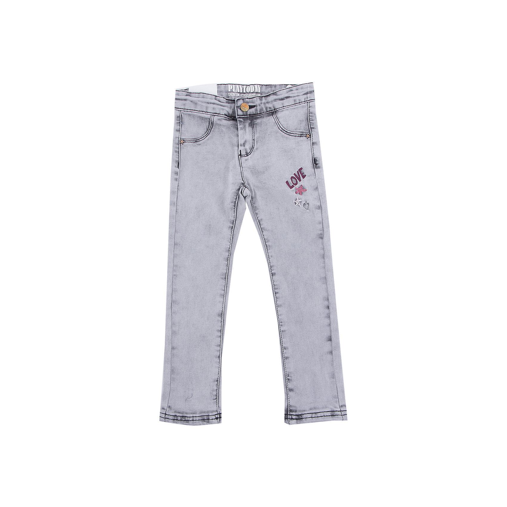 Джинсы PlayToday для девочкиДжинсы<br>Джинсы PlayToday для девочки<br>Классические брюки - джинсы из натурального хлопка - отличное решение для повседневного гардероба. Добавление в материал эластана позволяет изделию хорошо сесть по фигуре. Брюки декорированы потертостями и принтом.<br>Состав:<br>75% хлопок, 23% полиэстер, 2% эластан<br><br>Ширина мм: 215<br>Глубина мм: 88<br>Высота мм: 191<br>Вес г: 336<br>Цвет: серый<br>Возраст от месяцев: 84<br>Возраст до месяцев: 96<br>Пол: Женский<br>Возраст: Детский<br>Размер: 128,98,104,110,116,122<br>SKU: 7115139
