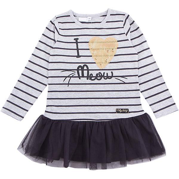 Платье PlayToday для девочкиПлатья и сарафаны<br>Платье PlayToday для девочки<br>Платье свободного кроя дополнит повседневный гардероб ребенка. Модель с округлым вырезом. Выполнена в технике yarn dyed- в процессе производства используются разного цвета нити. При рекомендуемом уходе изделие не линяет и надолго остается в первоначальном виде. Модель дополнена аппликацией из пайеток. Верхняя часть юбки декорирована сетчатой тканью.<br>Состав:<br>95% хлопок, 5% эластан<br><br>Ширина мм: 236<br>Глубина мм: 16<br>Высота мм: 184<br>Вес г: 177<br>Цвет: белый<br>Возраст от месяцев: 24<br>Возраст до месяцев: 36<br>Пол: Женский<br>Возраст: Детский<br>Размер: 98,128,122,116,110,104<br>SKU: 7115202