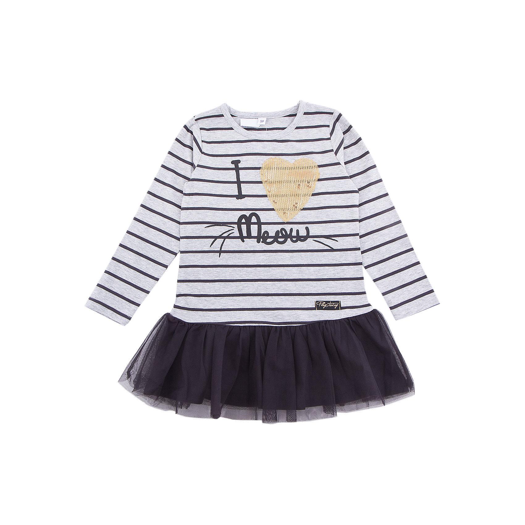 Платье PlayToday для девочкиПлатья и сарафаны<br>Платье PlayToday для девочки<br>Платье свободного кроя дополнит повседневный гардероб ребенка. Модель с округлым вырезом. Выполнена в технике yarn dyed- в процессе производства используются разного цвета нити. При рекомендуемом уходе изделие не линяет и надолго остается в первоначальном виде. Модель дополнена аппликацией из пайеток. Верхняя часть юбки декорирована сетчатой тканью.<br>Состав:<br>95% хлопок, 5% эластан<br><br>Ширина мм: 236<br>Глубина мм: 16<br>Высота мм: 184<br>Вес г: 177<br>Цвет: белый<br>Возраст от месяцев: 84<br>Возраст до месяцев: 96<br>Пол: Женский<br>Возраст: Детский<br>Размер: 128,98,104,110,116,122<br>SKU: 7115202