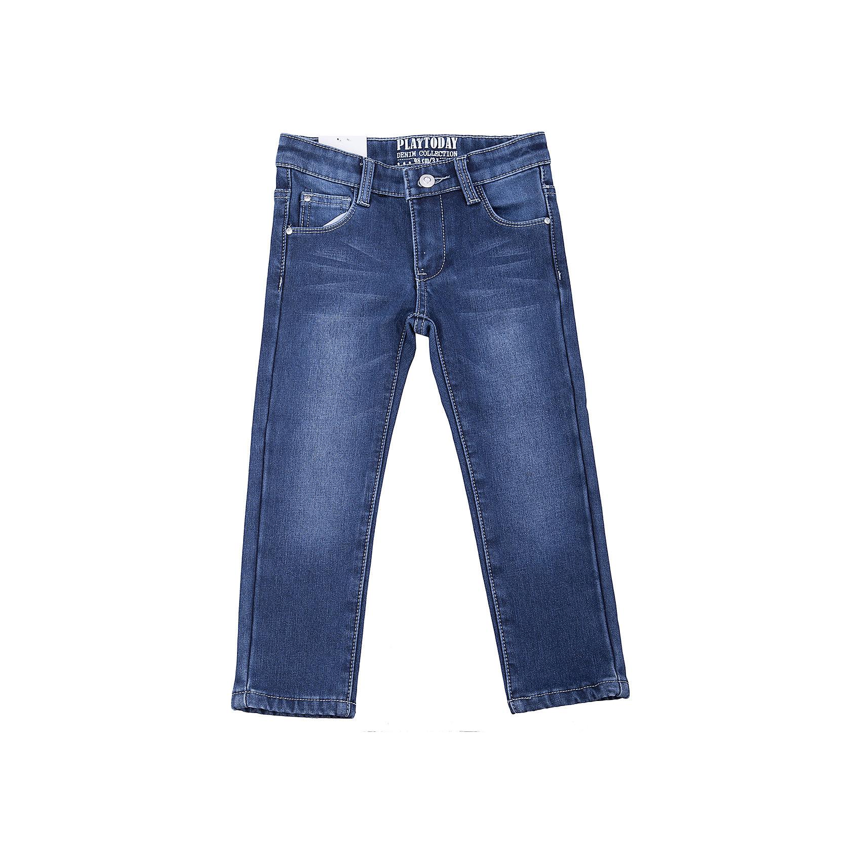 Джинсы PlayToday для девочкиДжинсы<br>Джинсы PlayToday для девочки<br>Брюки - джинсы из натурального хлопка - отличное решение для повседневного гардероба. Добавление в материал эластана позволяет изделию хорошо сесть по фигуре. Брюки классической 5-ти карманной модели, со шлевками. При необходимости могут быть дополнены ремнем, декорированы потертостями.<br>Состав:<br>50% хлопок, 48% полиэстер, 2 эластан<br><br>Ширина мм: 215<br>Глубина мм: 88<br>Высота мм: 191<br>Вес г: 336<br>Цвет: синий<br>Возраст от месяцев: 84<br>Возраст до месяцев: 96<br>Пол: Женский<br>Возраст: Детский<br>Размер: 128,98,104,110,116,122<br>SKU: 7115379