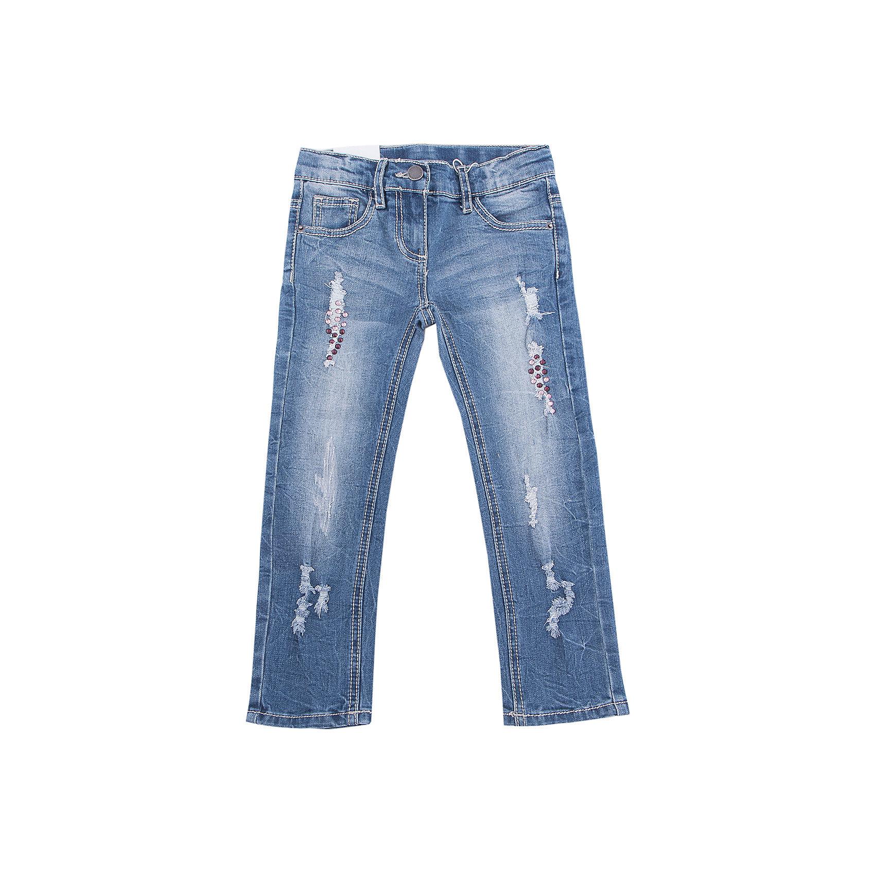 Джинсы PlayToday для девочкиДжинсы<br>Джинсы PlayToday для девочки<br>Брюки из джинсовой ткани с потертостями - отличное решение для повседневного гардероба. Модель декорирована стразами . Пояс на регулируемой изнутри резинке. Классическая 5-ти карманная модель со шлевками. При необходимости может быть дополнена ремнем.<br>Состав:<br>70% хлопок, 20% полиэстер, 8% вискоза, 2% эластан<br><br>Ширина мм: 215<br>Глубина мм: 88<br>Высота мм: 191<br>Вес г: 336<br>Цвет: голубой<br>Возраст от месяцев: 84<br>Возраст до месяцев: 96<br>Пол: Женский<br>Возраст: Детский<br>Размер: 128,98,104,110,116,122<br>SKU: 7115393