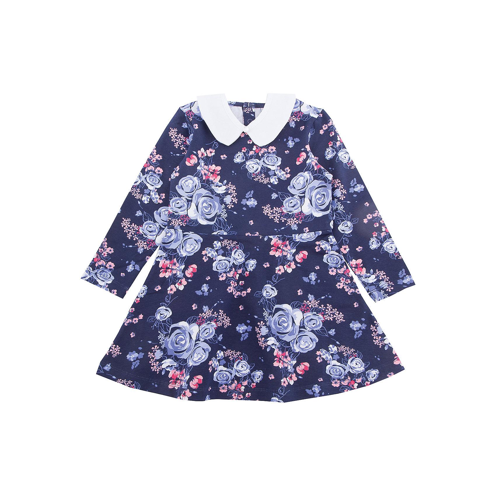 Платье PlayToday для девочкиОсенне-зимние платья и сарафаны<br>Платье PlayToday для девочки<br>Платье с длинным рукавом, отрезное по талии дополнит повседневный гардероб ребенка. Модель с белоснежным воротником на пуговицах, при необходимости его можно отстегнуть. На спинке расположены удобные застежки - кнопки. Платье из яркой набивной ткани с цветочным рисунком.<br>Состав:<br>80% хлопок, 15% полиэстер, 5% эластан<br><br>Ширина мм: 236<br>Глубина мм: 16<br>Высота мм: 184<br>Вес г: 177<br>Цвет: белый<br>Возраст от месяцев: 24<br>Возраст до месяцев: 36<br>Пол: Женский<br>Возраст: Детский<br>Размер: 98,128,104,110,116,122<br>SKU: 7115456