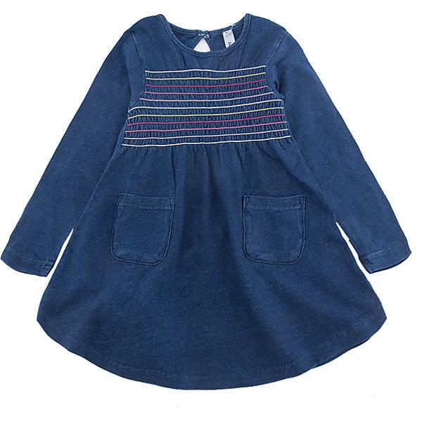 Платье PlayToday для девочкиПлатья и сарафаны<br>Характеристики товара:<br><br>• цвет: синий<br>• состав ткани: 95% хлопок, 5% эластан<br>• сезон: демисезон<br>• застежка: пуговица<br>• длинные рукава<br>• страна бренда: Германия<br>• страна изготовитель: Китай<br><br>Стильное платье для детей сделано из дышащего материала. Трикотажное платье для девочки - удобная и модная вещь. Детское платье декорировано контрастными швами. Детская одежда и обувь от PlayToday - это стильные вещи по доступным ценам. <br><br>Платье PlayToday (ПлэйТудэй) для девочки можно купить в нашем интернет-магазине.<br>Ширина мм: 236; Глубина мм: 16; Высота мм: 184; Вес г: 177; Цвет: синий; Возраст от месяцев: 84; Возраст до месяцев: 96; Пол: Женский; Возраст: Детский; Размер: 128,98,104,110,116,122; SKU: 7115463;