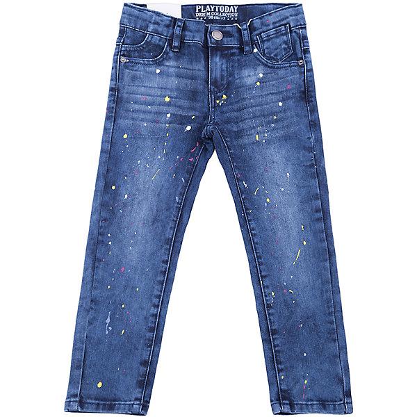 Джинсы PlayToday для девочкиДжинсы<br>Джинсы PlayToday для девочки<br>Брюки - джинсы из смесовой ткани с высоким содержанием хлопка. Классическая модель со шлевками. В качестве декора использован принт в виде разноцветных брызг красок.<br>Состав:<br>73% хлопок, 25%полиэстер, 2%эластан<br><br>Ширина мм: 215<br>Глубина мм: 88<br>Высота мм: 191<br>Вес г: 336<br>Цвет: синий<br>Возраст от месяцев: 24<br>Возраст до месяцев: 36<br>Пол: Женский<br>Возраст: Детский<br>Размер: 98,128,122,116,110,104<br>SKU: 7115846