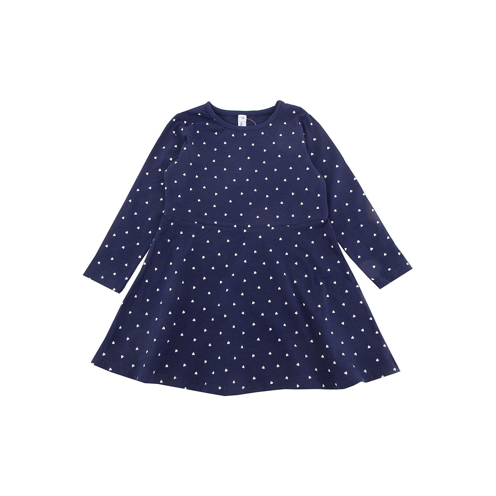 Платье PlayToday для девочкиПлатья и сарафаны<br>Платье PlayToday для девочки<br>Платье с округлым вырезом, отрезное по талии. Выполнено из натурального хлопка. Модель с длинными рукавами. В качестве декора использован мелкий принт по всей площади изделия.<br>Состав:<br>95% хлопок, 5% эластан<br><br>Ширина мм: 236<br>Глубина мм: 16<br>Высота мм: 184<br>Вес г: 177<br>Цвет: белый<br>Возраст от месяцев: 84<br>Возраст до месяцев: 96<br>Пол: Женский<br>Возраст: Детский<br>Размер: 128,98,104,110,116,122<br>SKU: 7115895