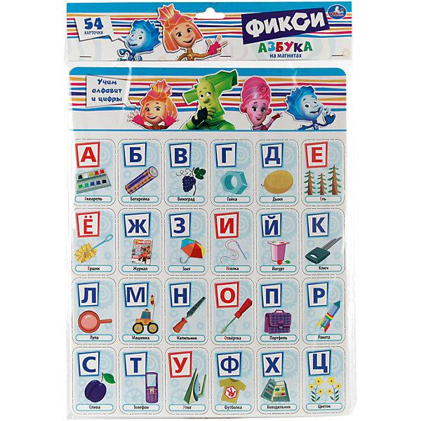 Карточик на магнитах  Учим алфавит и цифры . Фиксики.Обучающие карточки<br>Характеристики:<br><br>• вес в упаковке: 200г.;<br>• материал: магнит, бумага;<br>• упаковка: пакет;<br>• размер упаковки:42х30х0,5см.;<br>• для детей в возрасте: от 3 лет.;<br>• страна производитель:Россия.<br><br>Карточки на магнитах «Учим алфавит и цифры. Фиксики» бренда «Умка» прекрасный подарок для маленьких мальчишек и девчонок. Это алфавит и цифры, сделанный в форме карточек-магнитов.  Они созданы из высококачественных, экологически чистых материалов, что очень важно для детских товаров.<br><br> Набор имеет пятьдесят четыре яркие карточки с изображением букв и героев мультика «Фиксики». С любимыми героями изучать алфавит будет намного веселее и интереснее. Составляя слова их можно прикреплять к любой металлической поверхности и оставлять маленькие послания для друзей и родителей. Игра надолго увлечёт ребёнка.<br><br>Играя дети изучают цифры, буквы, составляют разные слова и предложения. Учатся считать и сравнивать количество предметов.<br><br>Карточки на магнитах «Учим алфавит и цифры. Фиксики» можно купить в нашем интернет-магазине.<br>Ширина мм: 290; Глубина мм: 5; Высота мм: 360; Вес г: 200; Возраст от месяцев: 24; Возраст до месяцев: 72; Пол: Унисекс; Возраст: Детский; SKU: 7116946;