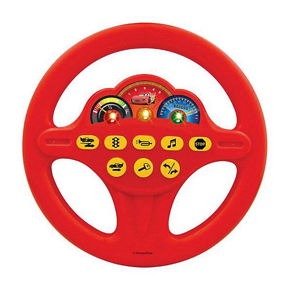 Игровой руль Играем вместе Тачки свет, звукТачки<br>Характеристики товара:<br><br>• возраст: от 24 месяцев;                                                                                                                                                                                                   • пол: мальчик;                                                                                                                                    <br>• герой: Тачки/Cars 2;<br>• цвет: красный;<br>• тип батареек: на батарейках;<br>• из чего сделана игрушка (состав): высококачественный пластик;<br>• размер упаковки: 27x4x23 см.;<br>• упаковка: блистер на картоне;<br>• вес: 0,25 кг.;<br>• страна обладатель бренда: Россия.<br><br>Светящийся игровой руль поможет ребенку почувствовать себя водителем знаменитой гоночной машины из мультфильма «Тачки». Игрушка имеет 8 кнопок, которые имитируют различные звуковые эффекты, такие как зажигание, гудок, поворот, задний ход. Юные водители оценят такую правдоподобность звукового оформления. <br><br>Кроме того, руль воспроизводит стих и песенку героя мультфильма Молнии Маккуина, так что это и небольшая магнитола. Красочное изображение режима скоростей, яркие лампочки и портрет главного героя привлекут внимание ребенка и позволят долгие часы наслаждаться игрой в гонщика.<br><br>Руль «Disney. Тачки» со светом и  звуком можно купить в нашем интернет-магазине.<br><br>Ширина мм: 270<br>Глубина мм: 40<br>Высота мм: 230<br>Вес г: 250<br>Возраст от месяцев: 36<br>Возраст до месяцев: 60<br>Пол: Мужской<br>Возраст: Детский<br>SKU: 7117601