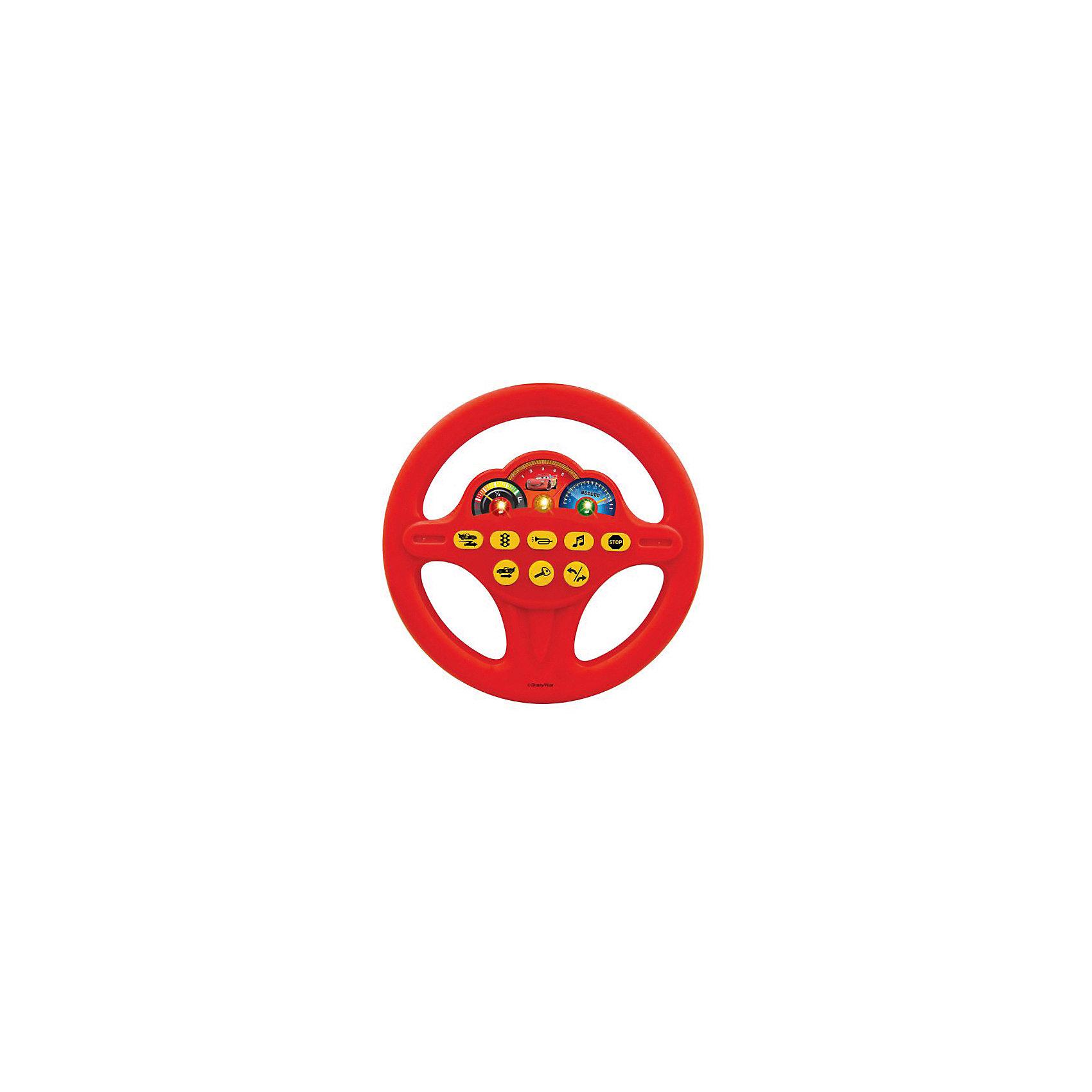 Игровой руль Играем вместе Тачки свет, звукТачки<br>Светящийся игровой руль поможет ребенку почувствовать себя водителем знаменитой гоночной машины из мультфильма «Тачки». Игрушка имеет 8 кнопок, которые имитируют различные звуковые эффекты, такие как зажигание, гудок, поворот, задний ход. Юные водители оценят такую правдоподобность звукового оформления. Кроме того, руль воспроизводит стих и песенку героя мультфильма Молнии Маккуина, так что это и небольшая магнитола. Красочное изображение режима скоростей, яркие лампочки и портрет главного героя привлекут внимание ребенка и позволят долгие часы наслаждаться игрой в гонщика.<br><br>Ширина мм: 270<br>Глубина мм: 40<br>Высота мм: 230<br>Вес г: 250<br>Возраст от месяцев: 36<br>Возраст до месяцев: 60<br>Пол: Мужской<br>Возраст: Детский<br>SKU: 7117601