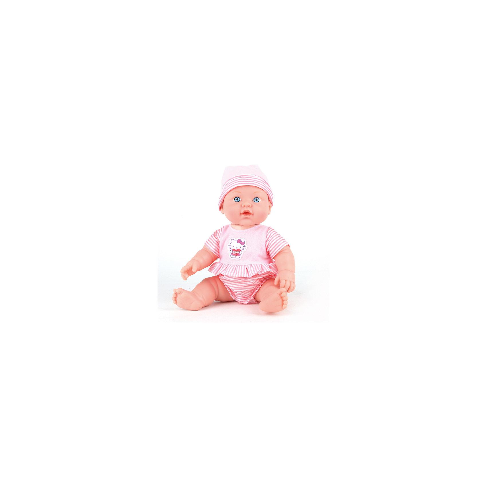 Кукла-пупс Карапуз Hello Kitty, 30 смКуклы-пупсы<br>Этот милый пупс умеет пить из бутылочки и писать в горшочек, если нажать на ножку, а также плакать настоящими слезами, если нажать на ручку,его можно купать. Он одет в костюмчик с дизайном Hello Kitty.<br><br>Ширина мм: 250<br>Глубина мм: 150<br>Высота мм: 300<br>Вес г: 640<br>Возраст от месяцев: 36<br>Возраст до месяцев: 84<br>Пол: Женский<br>Возраст: Детский<br>SKU: 7117603