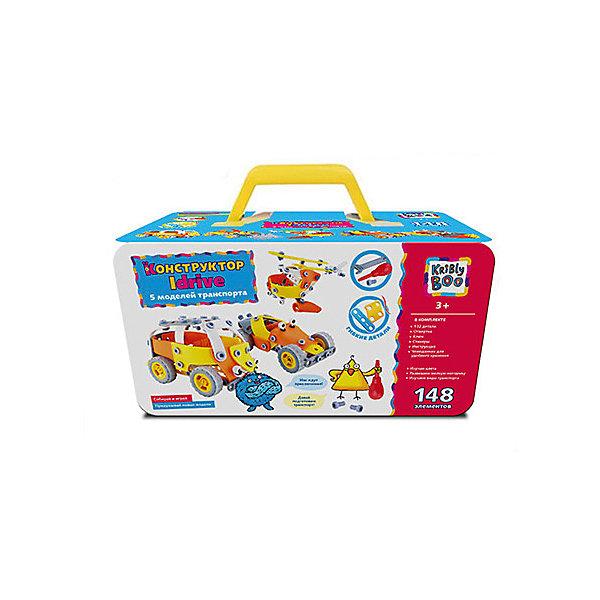 Конструктор Kribly Boo Idrive - 5 моделей транспорта, 148 деталейПластмассовые конструкторы<br>Характеристики:<br><br>• 5 разных моделей;<br>• количество деталей: 148;<br>• вес: 974г.;<br>• материал: пластик;<br>• упаковка: коробка;<br>• размер: 24,5х15х13см.;<br>• для детей в возрасте: от 3 лет;<br>• страна производитель: Китай.<br><br>Волшебный чемоданчик вмещает в себя пять готовых моделей автотранспорта.  Каждая игрушка собирается из мелких пластмассовых деталей и скрепляется при помощи пластиковых болтов. Весь комплект состоит из ста сорока восьми мелких деталей, ключа, отвёртки и инструкции для сборки. Так как детали мелкие, то собирать конструктор детям безопаснее вместе с родителями. Игра надолго привлечёт внимание ребёнка.<br><br>Играя дети развивают конструкторские способности, мелкую моторику, фантазию и просто увлекательно проводят время в кругу семьи.<br><br>Конструктор «Idrive» (Айдрайв) можно купить в нашем интернет-магазине.<br>Ширина мм: 255; Глубина мм: 130; Высота мм: 155; Вес г: 805; Возраст от месяцев: 36; Возраст до месяцев: 2147483647; Пол: Мужской; Возраст: Детский; SKU: 7118133;