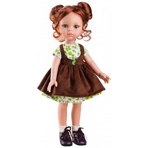 Кукла Paola Reina Кристи, 32 смИгрушки по суперценам!<br>Характеристики товара:<br><br>• возраст: от 3 лет;<br>• пол: девочка;<br>• подвижные руки, ноги и голова;<br>• мягкие волосы, которые можно расчесывать; <br>• высота кукол: 32 см;<br>• размер упаковки: 23х41х11 см;   <br>• вес : 667гр.;<br>• материал: винил, текстиль;                                       <br>• страна-производитель: Испания.                                   <br><br>Само очарование! С темно-рыжими волосами Кристи отлично гармонирует сарафан шоколадного цвета и цветное платьице. Элегантная прическа очень эффектна: с роскошными волосами этой «паулки» так и хочется поэкспериментировать.<br><br><br>Кукла Paola Reina Кристи имеет нежный ванильный аромат, уникальный и неповторимый дизайн лица и тела, ручная работа: ресницы, веснушки, щечки, губы, прическа, волосы легко расчесываются и блестят. Кукла имеет темную кожу, черные волосы, карие глаза. Глаза не закрываются, ручки, ножки и голова поворачиваются. Качество подтверждено нормами безопасности EN17 ЕЭС. <br><br>Куклу Paola Reina Кристи 32 см , можно купить в нашем интернет-магазине.<br>Ширина мм: 110; Глубина мм: 230; Высота мм: 410; Вес г: 667; Возраст от месяцев: 36; Возраст до месяцев: 144; Пол: Женский; Возраст: Детский; SKU: 7118827;