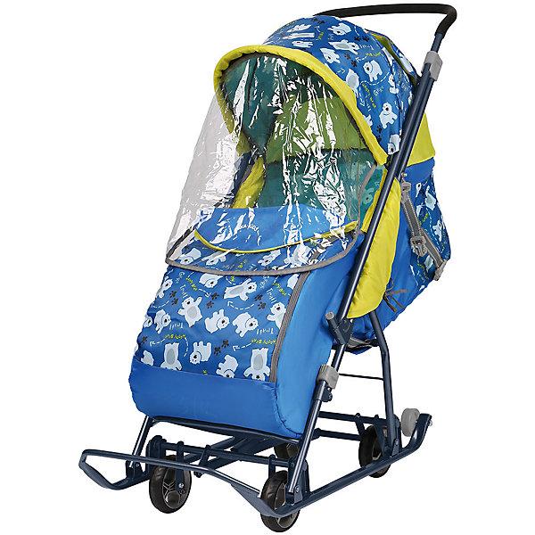 Санки-коляска Ника детям  Умка 3-1/2, принт с медвежатами на синемС колесиками<br>Характеристики товара:<br><br>• возраст: от 6 месяцев до 4 лет;<br>• максимальная нагрузка: 25 кг;<br>• материал: сталь, пластик, полиэстер;<br>• регулируемый наклон спинки в 3 положениях;<br>• перекидная ручка;<br>• большой двухсекционный козырек;<br>• 3-х точечные ремни безопасности;<br>• светоотражающие элементы;<br>• ширина посадочного места: 36 см;<br>• полозья: 30 мм;<br>• длина коляски: 106,5 см;<br>• диаметр колес: 12 см;<br>• высота ручки (на колесах): 102 см;<br>• высота ручки (на полозьях): 95 см;<br>• вес коляски: 8,4 кг;<br>• размер упаковки: 108х43х26 см;<br>• вес упаковки: 10 кг;<br>• страна производитель: Россия.<br><br>Санки-коляска «Ника детям Умка 3-1» принт с медвежатами на синем — удивительное транспортное средство для малыша, сочетающее в себе и коляску и санки. Подойдет для передвижения заснеженной зимой. Простой механизм переключения с полозьев на колеса позволяет поменять режим при переходе со снежного участка дороги на асфальт.<br><br>Спинка регулируется в 3 положениях до положения «лежа», позволяя малышу отдохнуть. Плотные ткани и большой капюшон не дадут замерзнуть и защитят от ветра и осадков. На накидке на ножки имеется молния, которая дает возможность легко достать ребенка из коляски, не снимая при этом саму накидку. Перекидная ручка позволяет менять направление движения как лицом к маме, так и наоборот. Коляска складывается для удобства хранения и транспортировки.<br><br>Комплектация:<br>• коляска;<br>• накидка на ножки;<br>• тент-дождевик.<br><br>Санки-коляску «Ника детям Умка 3-1» принт с медвежатами на синем можно приобрести в нашем интернет-магазине.<br><br>Ширина мм: 1110<br>Глубина мм: 404<br>Высота мм: 210<br>Вес г: 8500<br>Цвет: синий<br>Возраст от месяцев: 12<br>Возраст до месяцев: 48<br>Пол: Мужской<br>Возраст: Детский<br>SKU: 7120378
