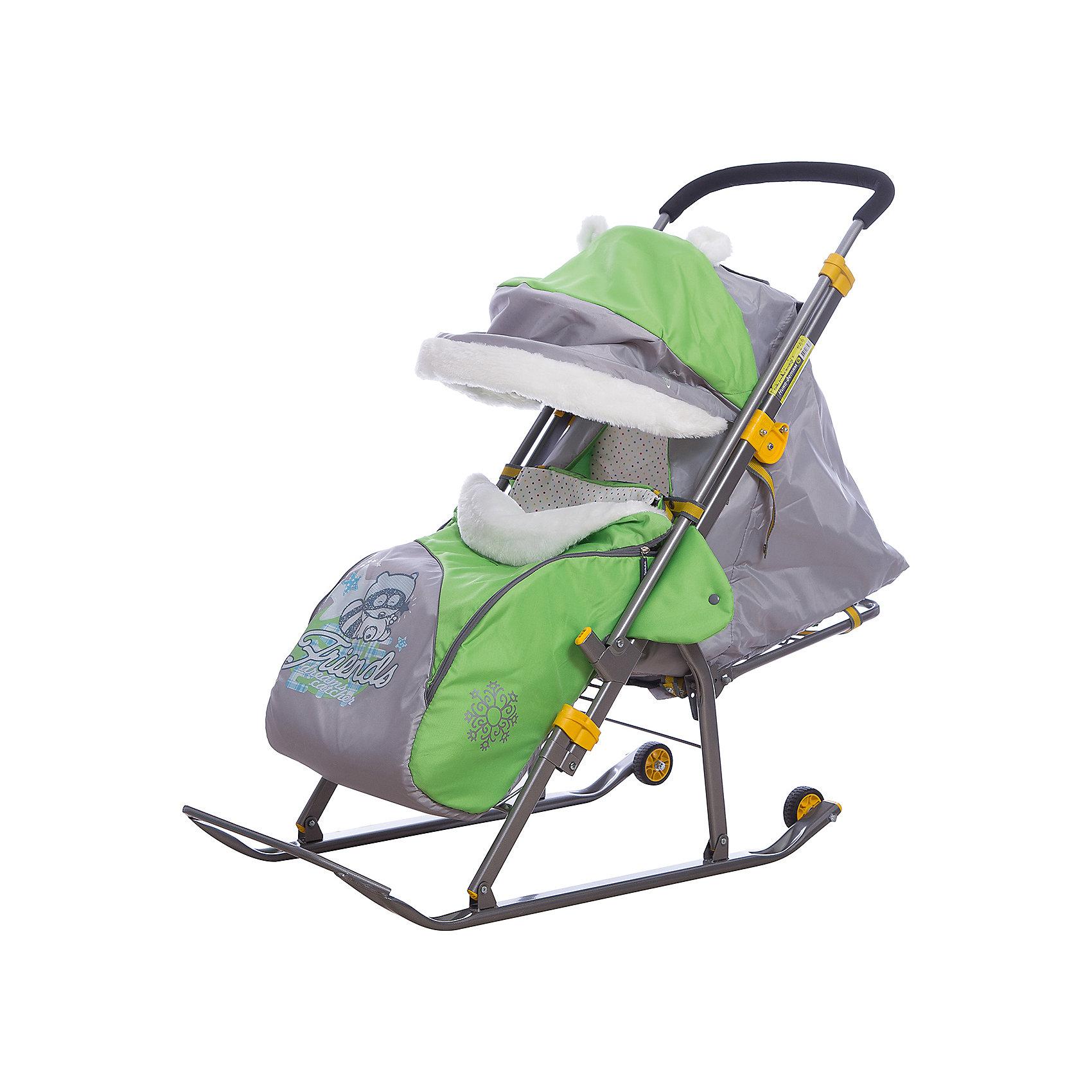 Санки-коляска Ника детям  6, Енот, зеленый/серыйС 2 колесиками<br>Санки-коляска Ника значительно расширят ваши возможности во время зимних прогулок с ребенком. Санки имеют прочные и легкий каркас, чехол выполненный из высококачественного влагоотталкивающего материала. Спинка регулируется до положения лежа, складной козырек со смотровым окошком опускается до ножек ребенка, создавая комфортную атмосферу для отдыха. Модель имеет перекидную ручку и небольшие транспортировочные колеса на задней части полозьев. Санки оснащены пятиточечными ремнями безопасности и мягким и теплым чехлом для ножек. Родителей, несомненно, порадует удобная, вместительная сумка и теплая муфта на ручке. Модель легко складывается, занимает мало места при транспортировке. Прекрасный вариант для холодной и снежной зимы! <br><br>Дополнительная информация:<br><br>- Материал: металл, полиэстер. <br>- Ширина посадочного места: 36,5 см.<br>- Длина в рабочем положении: 105 см.<br>- Высота ручки от земли: 100 см.<br>- Ширина по полозьям: 41,1 см.<br>- Ширина полозьев: 4,45 см.<br>- Размер в сложенном виде: 113 х 44,5 х 25,5 см.<br>- Перекидная ручка. <br>- Складной козырек со смотровым окошком.<br>- Накидка на ножки.<br>- Транспортировочные колеса. <br>- Пятиточечные ремни безопасности. <br>- Регулируемая до положения лежа спинка.<br>- Вес: 9 кг<br>- Максимальный вес ребенка: 25 кг.<br>- Легко складываются. <br>- Светоотражающие элементы.<br>- Теплая муфта на ручке. <br>- Сумка.<br>- Декоративные элементы: аппликация, отделка мехом.<br>- Цвет: зеленый/серый<br><br>Санки-коляску Ника детям  6, Енот, зеленый/серый, можно купить в нашем магазине.<br><br>Ширина мм: 1150<br>Глубина мм: 470<br>Высота мм: 460<br>Вес г: 11500<br>Цвет: зеленый<br>Возраст от месяцев: 12<br>Возраст до месяцев: 48<br>Пол: Унисекс<br>Возраст: Детский<br>SKU: 7120387