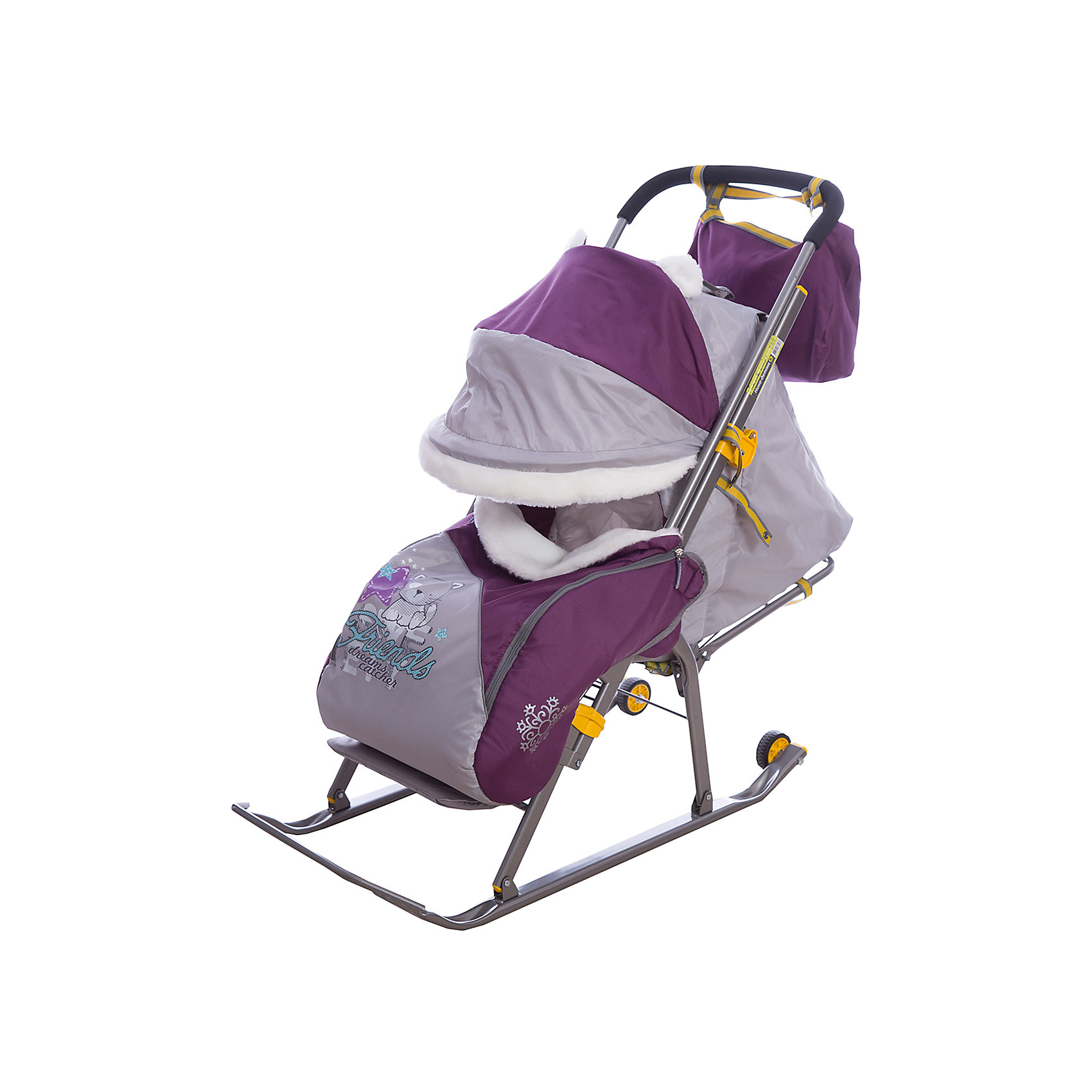 Санки-коляска Ника детям  6, Котенок, баклажановый/серый