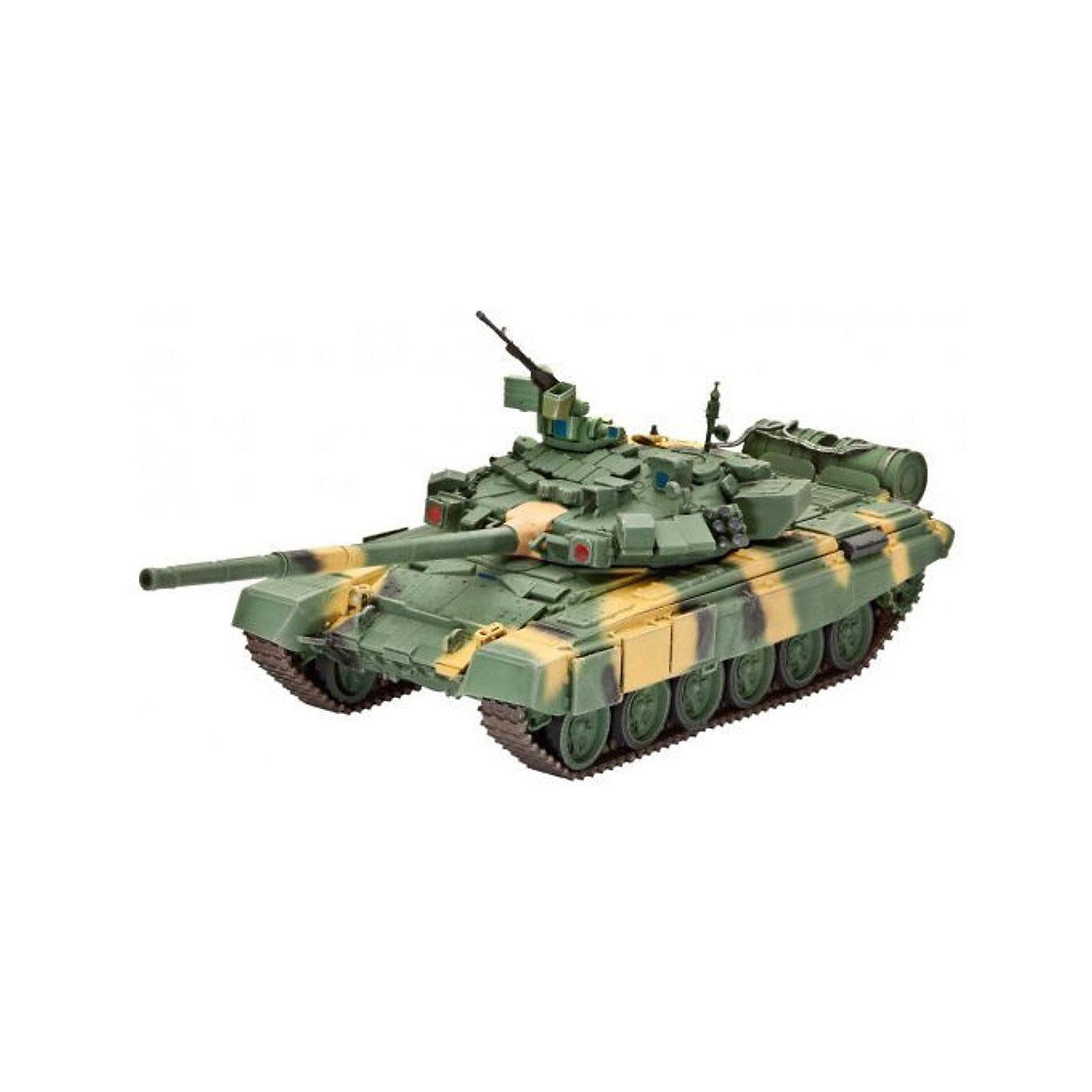 Танк Т-90, РоссияМодели для склеивания<br>Сборная модель современного российского танка Т-90. На текущий момент Т-90 является самым современным танков в армии России.  <br>Создавался как модернизация Т-72Б. Танк оснащен 125 мм орудием, способным вести огонь, как стандартными боеприпасами, так и ПТУРами. Т-90 имеет сварной корпус и литую башню. Танк оборудован активной защитой, состоящей из комплекса оптико-электронного подавления Штора-1. Комплекс предназначен для защиты от поражения танка противотанковыми управляемыми ракетами и состоит из станции оптико-электронного подавления и системы постановки завес. С 2001 по 2010 годы Т-90 стал самым продаваемым танком на мировом рынке. <br>Масштаб: 1:72 <br>Количество деталей: 157 <br>Длина модели: 142 мм <br>Уровень сложности: 5 <br>В комплект входят декали для постройки моделей в варианте Вооруженных сил РФ (2005 и 2011 годов) и в варианте индийской армии (2004) <br>Клей и краски в комплект не входят.<br><br>Ширина мм: 9999<br>Глубина мм: 9999<br>Высота мм: 9999<br>Вес г: 9999<br>Возраст от месяцев: 144<br>Возраст до месяцев: 2147483647<br>Пол: Мужской<br>Возраст: Детский<br>SKU: 7122328
