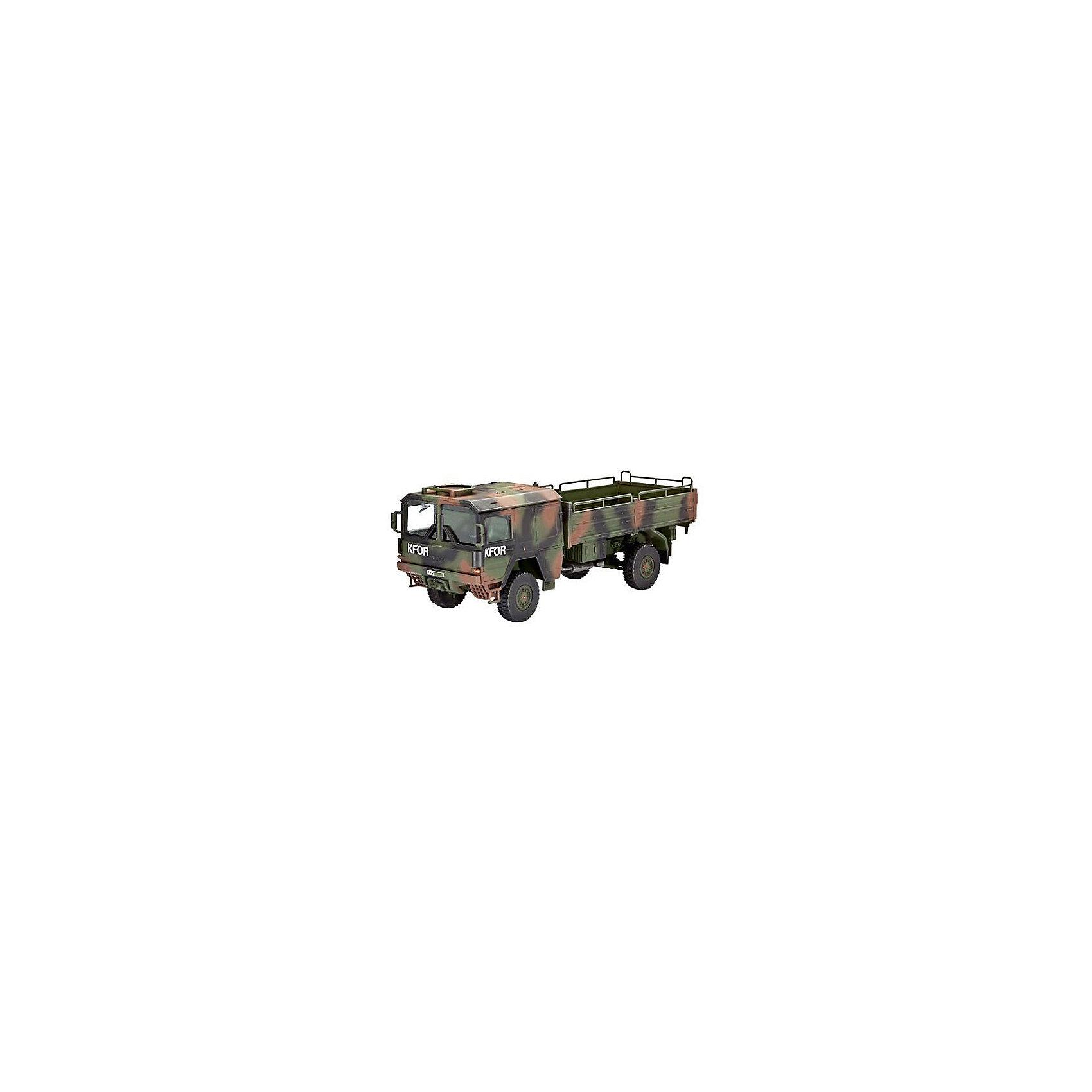 Немецкий грузовик 5t. mil glМодели для склеивания<br>Сборная модель современного армейского грузовика, состоящего на вооружении немецкой армии. Двигатель V8 мощностью 256 л.с. позволяет развивать автомобилю скорость до 90 км/ч. А подвеска 4x4 помогает преодолевать любое бездорожье. <br>Масштаб: 1:72 <br>Количество деталей: 110 <br>Длина модели: 111 мм <br>Подойдет для детей старше 10-и лет <br>Клей и краски в комплект не входят.<br><br>Ширина мм: 9999<br>Глубина мм: 9999<br>Высота мм: 9999<br>Вес г: 9999<br>Возраст от месяцев: 156<br>Возраст до месяцев: 2147483647<br>Пол: Мужской<br>Возраст: Детский<br>SKU: 7122334