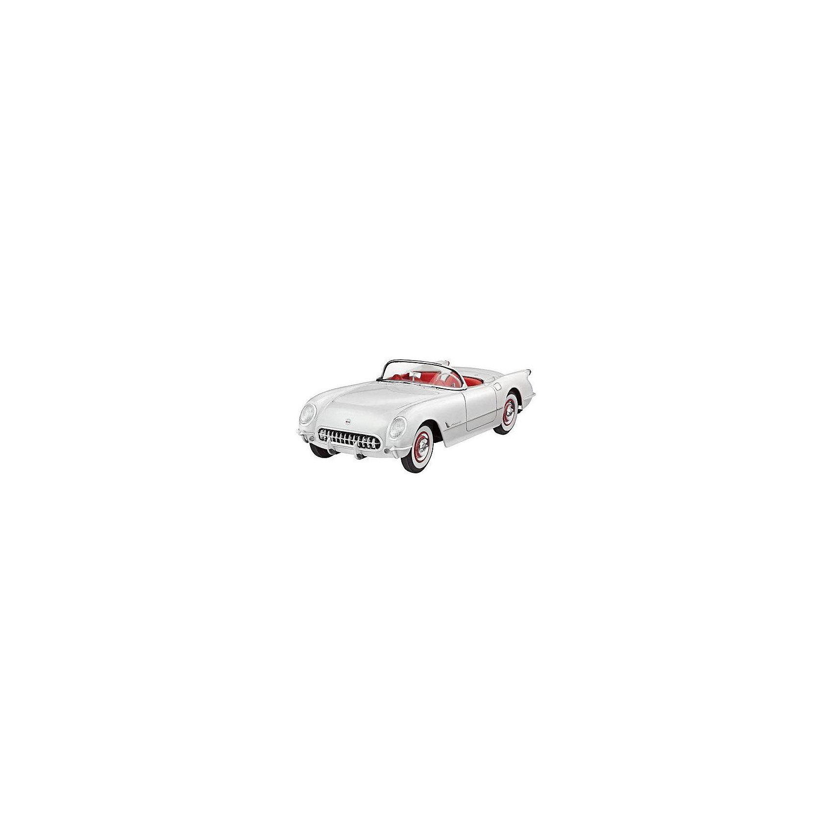 Автомобиль 53 Corvette RoadsterМодели для склеивания<br>Сборная модель 53 Corvette Roadster выполнена в традиционном для автомобилей масштабе 1:24. Прототип данной модели был создан в начале 50-х годов 20 века. Тогдашний ведущий дизайнер компании General Motors решил создать новый спорткар, который сможет конкурировать с аналогичными автомобилями из Европы. Результат работы американского концерна был показан на выставке в 1953 году. Автомобиль сразу пришелся по душе публике, поэтому серийное производство началось в конце того же года.  <br>53 Corvette Roadster от Revell может похвастаться: <br>-аутентичным шестицилиндровым двигателем; <br>-открывающимся капотом; <br>-проработанным интерьером с копией приборной панели; <br>-кузовом, с проработкой мелких деталей: <br>Модель выполнена из пластика, поэтому для ее сборки вам потребуется специальный клей. Для покраски рекомендуется использовать акриловые или эмалевые краски Revell. Хромированные детали, которые присутствуют в наборе, рекомендуется зачищать от краски в местах склеивания. Прозрачные пластиковые детали рекомендуется клеить специальным клеем Contacta Clear.  <br>Внимание! Все вышеперечисленные расходные материалы не входят в набор и приобретаются отдельно. <br>Сборные модели от компании Revell помогут ребенку развить у ребенка творческие способности, аккуратность, усидчивость и мелкую моторику рук.  <br><br>Количество деталей: 91 <br>Длина модели: 177 мм <br>Уровень сложности: 4<br><br>Ширина мм: 9999<br>Глубина мм: 9999<br>Высота мм: 9999<br>Вес г: 9999<br>Возраст от месяцев: 120<br>Возраст до месяцев: 2147483647<br>Пол: Мужской<br>Возраст: Детский<br>SKU: 7122337