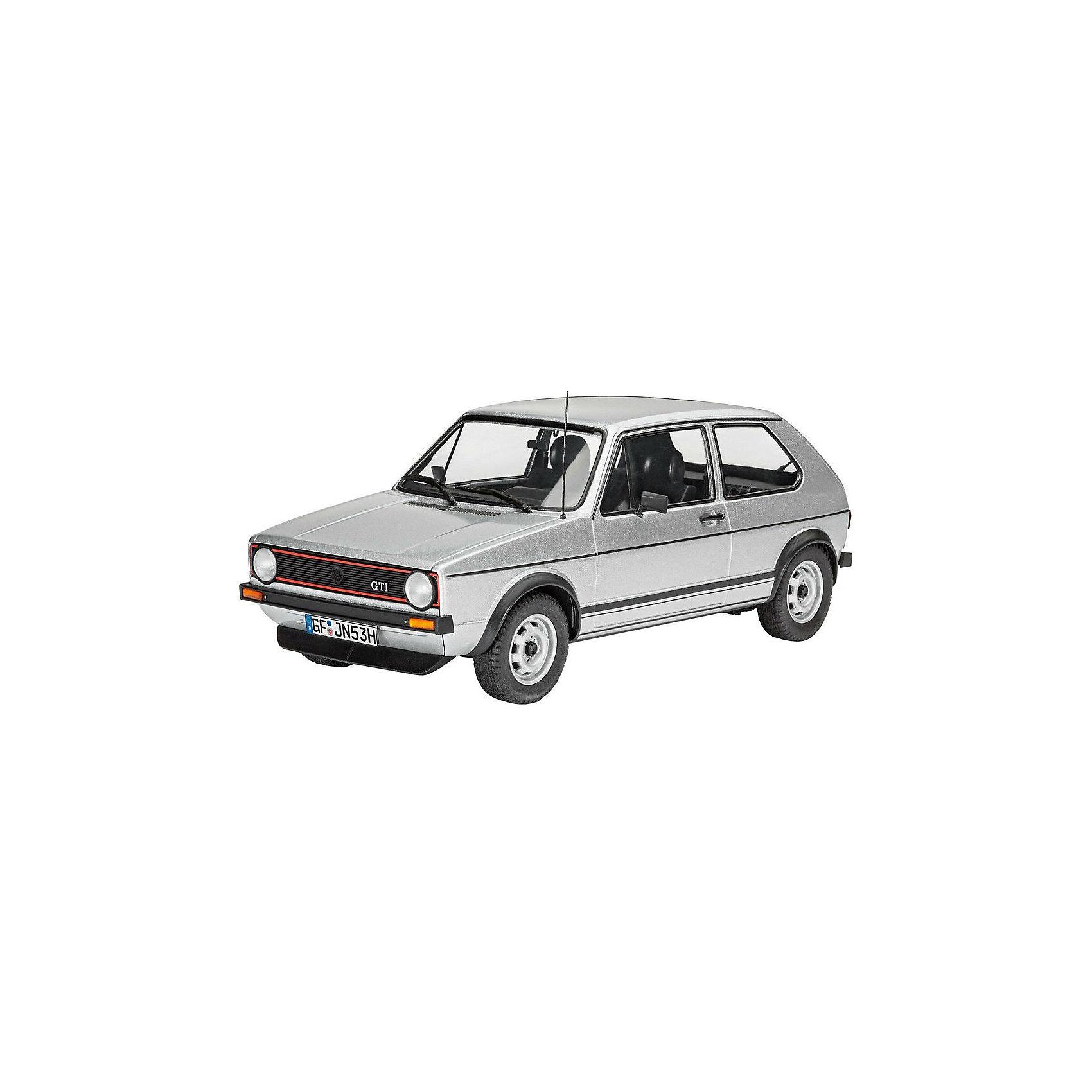Автомобиль VW Golf 1 GTIМодели для склеивания<br>Сборная модель автомобиля VW Golf 1 GTI в масштабе 1:24. Прототип данной модели имеет интересную историю. Представленный публике в 1975 году на автосалоне VW Golf 1 GTI стал сюрпризом не только для публики, но и для совета директоров Volkswagen.  Машина создавалась без ведома руководителей компании. Несмотря ни на что, этот спортивный вариант классического Golf 1 стал первым спортивным автомобилем доступным всем слоям населения. Доступная цена, двигатель 110 л.с., широкие колеса и характерный передний спойлер сделали этот автомобиль по-настоящему культовым.  <br>Модель выполнена из пластика, поэтому для ее сборки вам потребуется специальный клей. Для покраски рекомендуется использовать акриловые или эмалевые краски Revell. Прозрачные пластиковые детали рекомендуется клеить специальным клеем Contacta Clear.  <br>Внимание! Все вышеперечисленные расходные материалы не входят в набор и приобретаются отдельно. <br>Сборные модели от компании Revell помогут ребенку развить у ребенка творческие способности, аккуратность, усидчивость и мелкую моторику рук.  <br>Масштаб модели: 1:24 <br>Количество деталей: 121 <br>Длина модели: 154 мм <br>Рекомендуется для детей от 10 лет.<br><br>Ширина мм: 9999<br>Глубина мм: 9999<br>Высота мм: 9999<br>Вес г: 9999<br>Возраст от месяцев: 144<br>Возраст до месяцев: 2147483647<br>Пол: Мужской<br>Возраст: Детский<br>SKU: 7122340