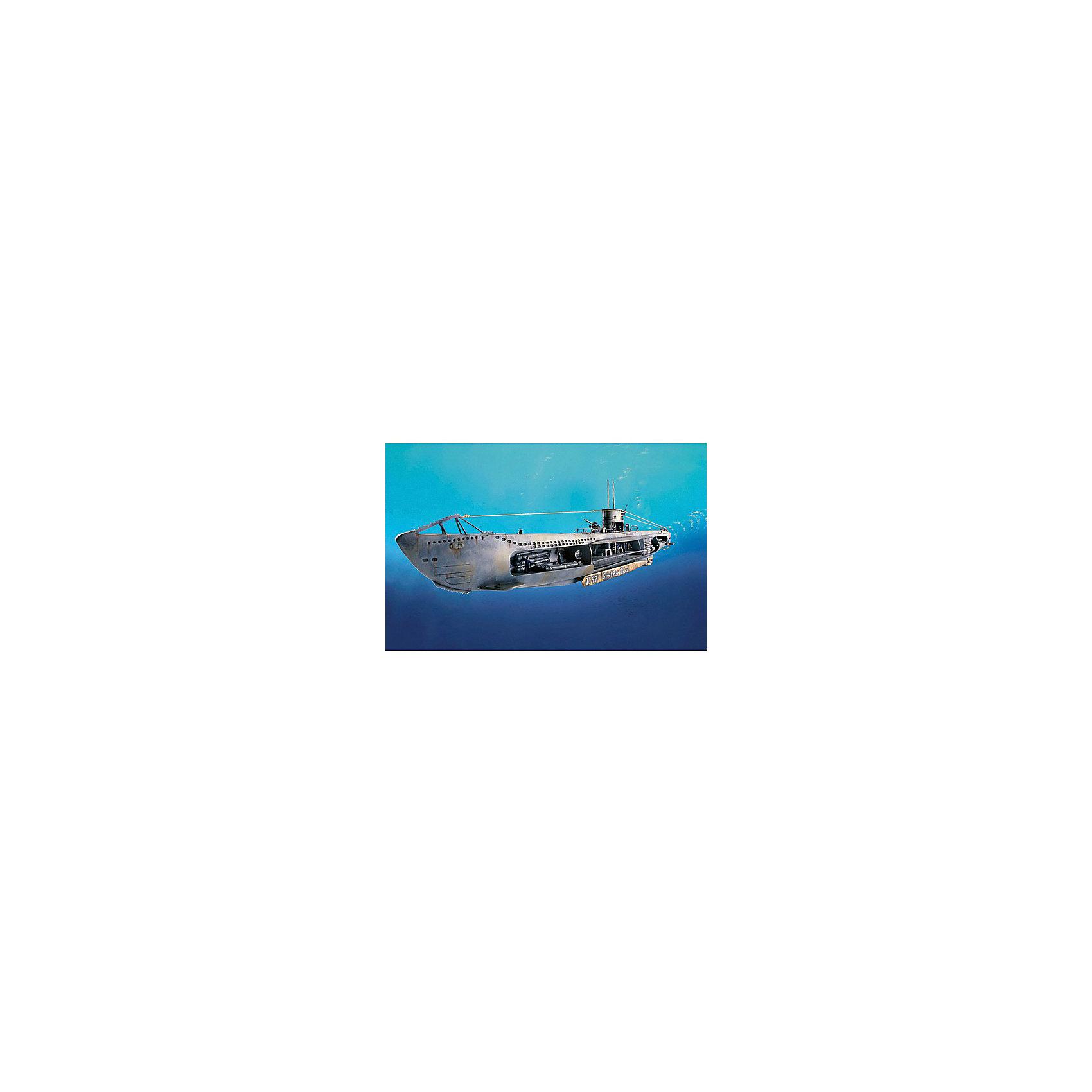 Немецкая подводная лодка U-47 w.InteriorМодели для склеивания<br>Немецкая подводная лодка U-47 поступила на службу в декабре 1938 года. А в ночь на 14 октября 1939 года ей удалось пробраться незамеченной на британскую военно-морскую базу в Скапа-Флоу, потопить линкор H.M.S. Royal Oak всего несколькими залпами и также незамеченной вернуться на свою базу.  <br><br> Восхитительная сборная модель немецкой подводной лодки U-47 является абсолютно точной уменьшенной копией своего прототипа в масштабе 1:125. Макет лодки проработан в мельчайших подробностях. Сбоку модели открыт взгляду детализированный внутренний интерьер подводного судна с перегородками. Аккуратно выполненные, приближенные к оригиналу панель приборов, торпеды, спальные помещения, капитанская рубка, палубные орудия 8,8 см, а также члены экипажа позволят достичь ощущения, что вы находитесь на борту знаменитой немецкой подлодки. Всего модель состоит из 124 отдельных деталей, которые необходимо собрать воедино и склеить, а затем покрыть краской в соответствии с инструкцией в комплекте. Длина готовой модели после сборки составляет 531 мм.  <br><br> Великолепная сборная модель немецкой подводной лодки U-47 с интерьером разработана немецкой компанией Revell для детей от 10 лет. Макет настоящей подлодки с детализированным интерьером и членами экипажа, несомненно, обрадует не только юных любителей моделирования, но и взрослых его поклонников и коллекционеров военной техники. Моделирование – один из наиболее полезных и увлекательных хобби. Оно превосходно тренирует мелкую моторику, развивает такие навыки как усидчивость, аккуратность и внимательность. Кроме того, развивается пространственное мышление, логика и креативность.<br><br>Ширина мм: 9999<br>Глубина мм: 9999<br>Высота мм: 9999<br>Вес г: 9999<br>Возраст от месяцев: 120<br>Возраст до месяцев: 2147483647<br>Пол: Мужской<br>Возраст: Детский<br>SKU: 7122344