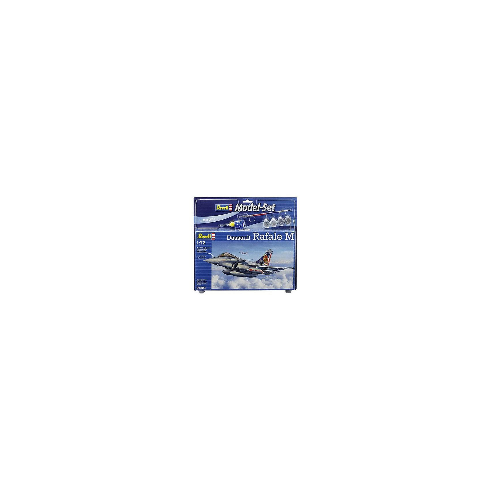 Набор Истребитель Dassault Rafale MМодели для склеивания<br>Истребитель Dassault Rafale M – высокотехнологичная морская версия разведывательного самолёта нового поколения. Он способен исполнять роль, как перехватчика, так и роль самолёта-разведчика, а также истребителя-бомбардировщика.   Прекрасно детализированная сборная модель уникального истребителя Dassault Rafale M представляет собой абсолютно точную уменьшенную копию своего прототипа в масштабе 1:72. Кабина пилота выполнена в мельчайших подробностях. Фактурные поверхности деталей самолёта, детализированные шасси, пилоны для внешних нагрузок, два дополнительных бака, а также две самонаводящиеся ракеты позволяют поверить, что перед вами оригинальный Раффаэль М! Всего модель состоит из 73 отдельных компонентов, которые необходимо собрать, склеить и покрыть краской в соответствии с инструкцией, которая прилагается в комплекте. В наборе также есть клей в удобной упаковке, специальные краски и кисточка для создания неповторимого дизайна истребителя. Длина готовой модели составляет 220 мм, а размах крыльев – 148 мм.   Разработанная для детей от 10 лет, превосходно выполненная сборная модель французского многофункционального истребителя Dassault Rafale M определённо порадует и взрослых любителей моделирования, а также коллекционеров военной техники разных стран. Моделирование относят к одному из наиболее полезных хобби, ведь оно отлично тренирует мелкую моторику, развивает такие навыки как усидчивость, аккуратность и внимательность. Кроме того, развивается пространственное мышление, логика и креативность.<br><br>Ширина мм: 9999<br>Глубина мм: 9999<br>Высота мм: 9999<br>Вес г: 9999<br>Возраст от месяцев: 132<br>Возраст до месяцев: 2147483647<br>Пол: Мужской<br>Возраст: Детский<br>SKU: 7122346